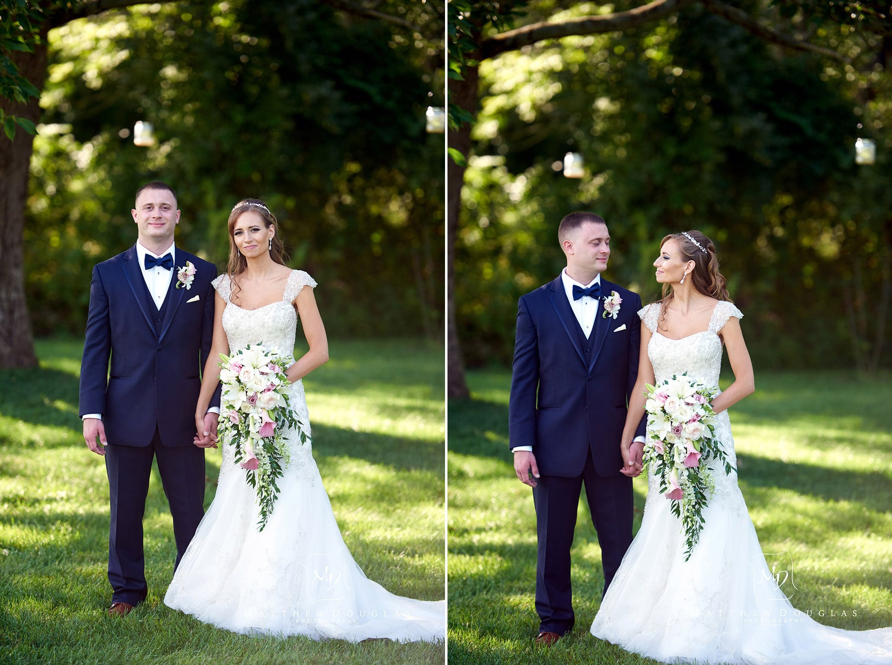 elegant bride and groom at the farmhouse at the grand colonial