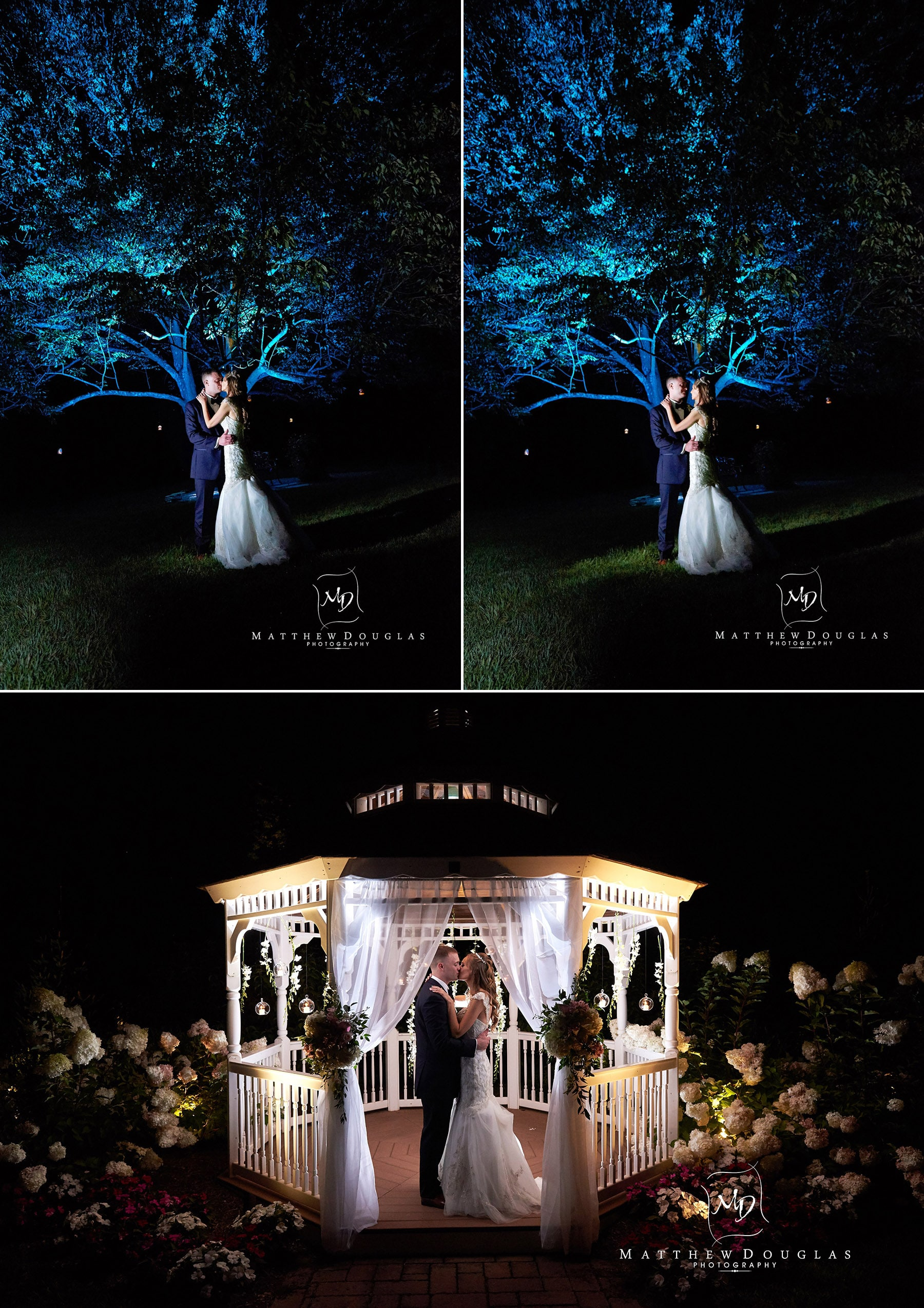 night wedding photo at the farmhouse at the grand colonial