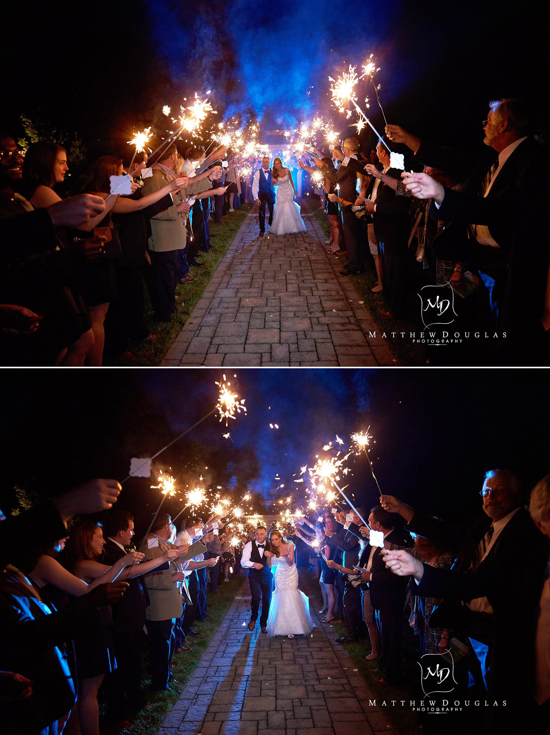 sparkler exit wedding at the farmhouse at the grand colonial