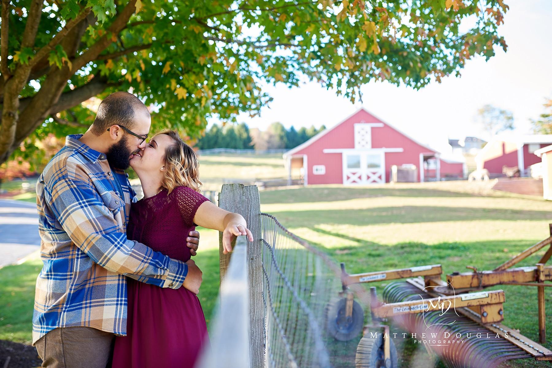 Engagement photos on a family farm in Hunterdon County NJ