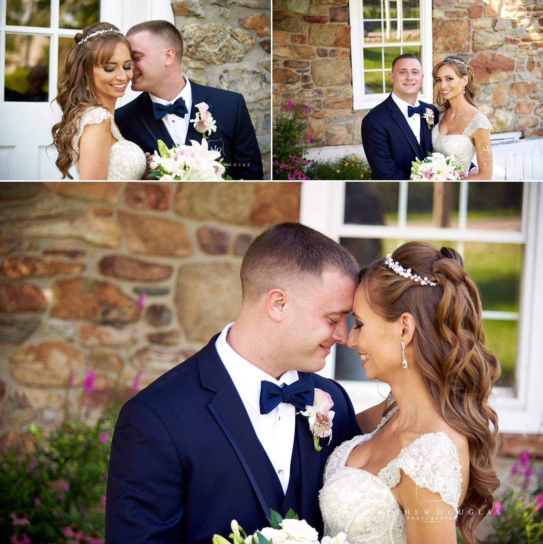 bride and groom sharing a moment at the farmhouse at the grand colonial