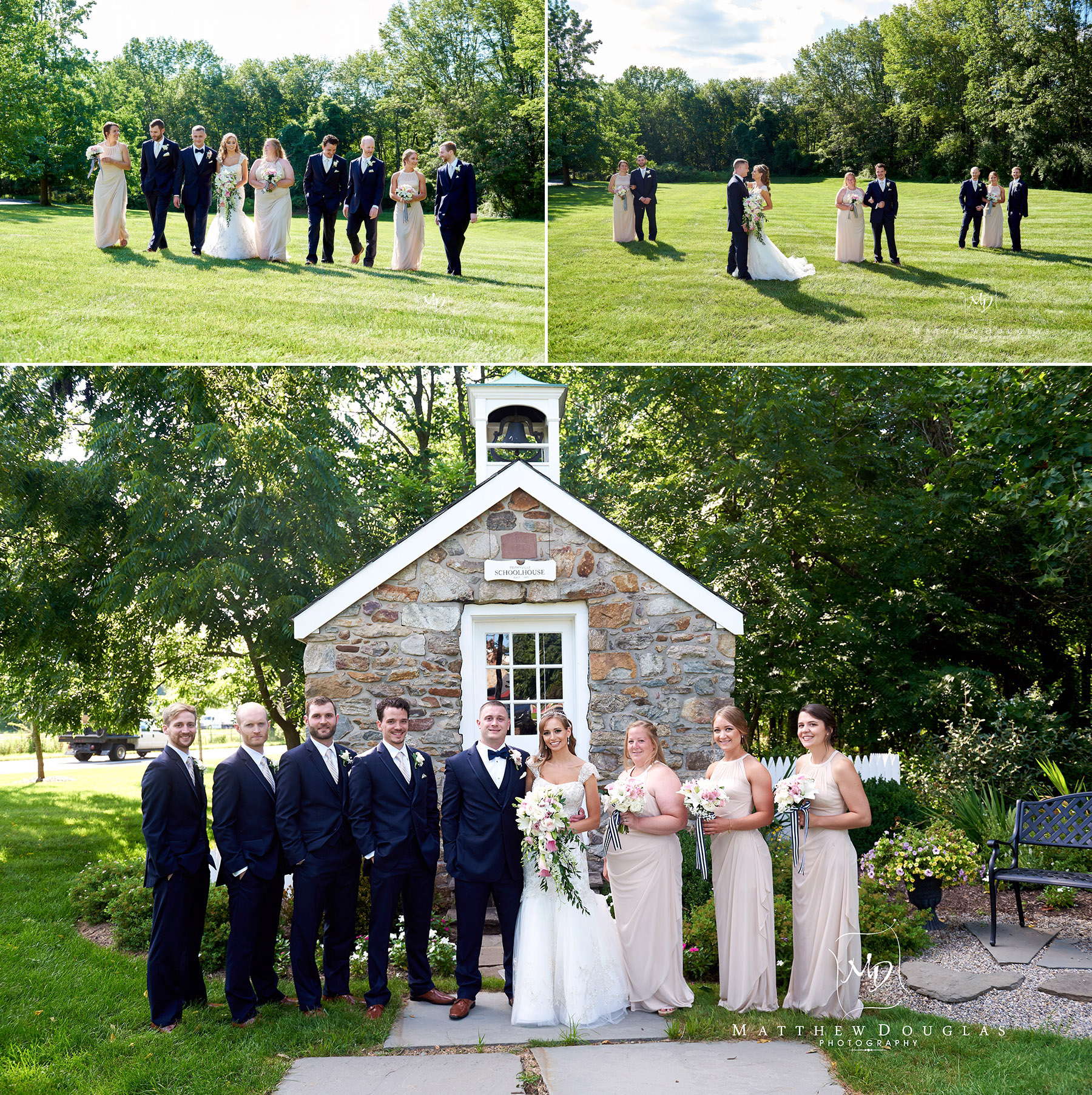 the bridal party photos at the farmhouse at the grand colonial