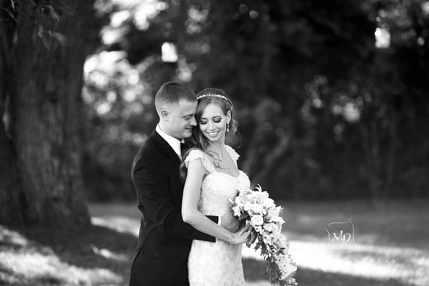BW romantic wedding at the farmhouse at the grand colonial