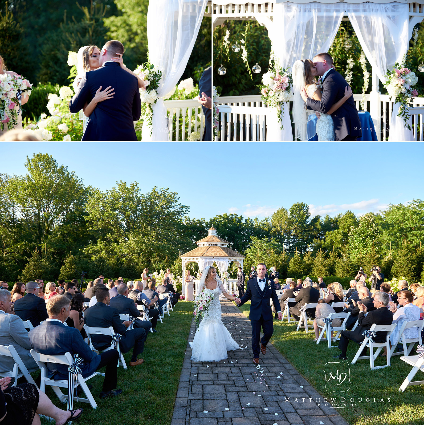 first kiss and ceremony exit at the farmhouse at the grand colonial