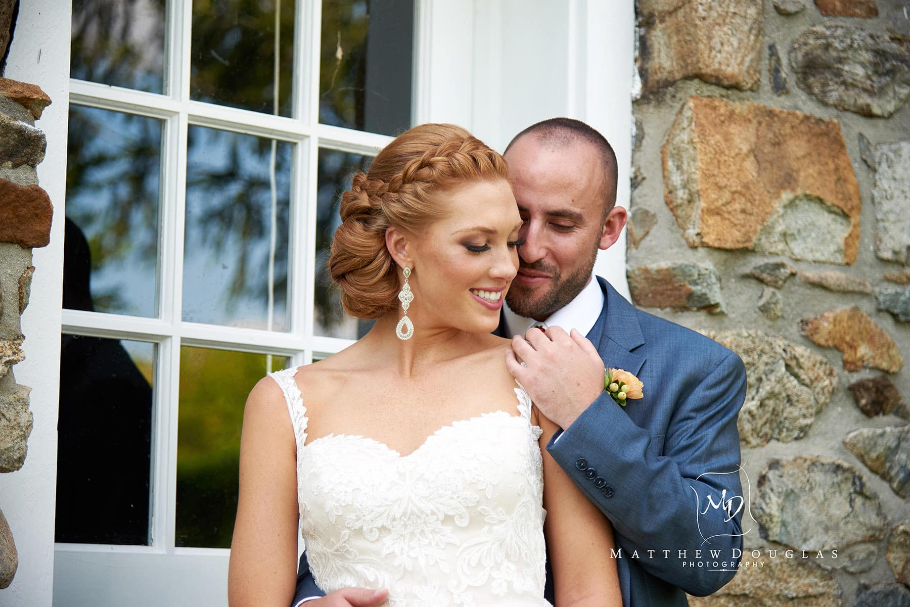 romantic bride and groom at The Farmhouse at The Grand Colonial