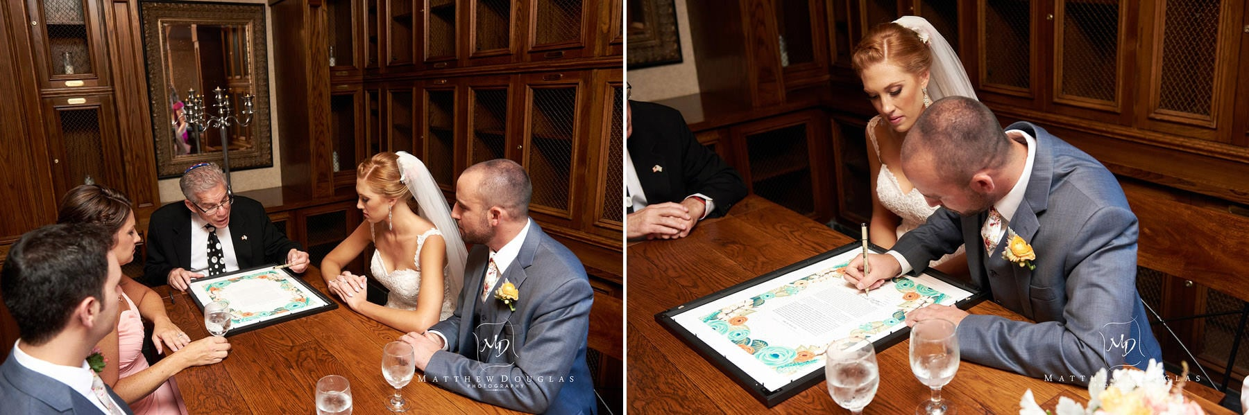 sigining the ketubah at The Farmhouse at The Grand Colonial