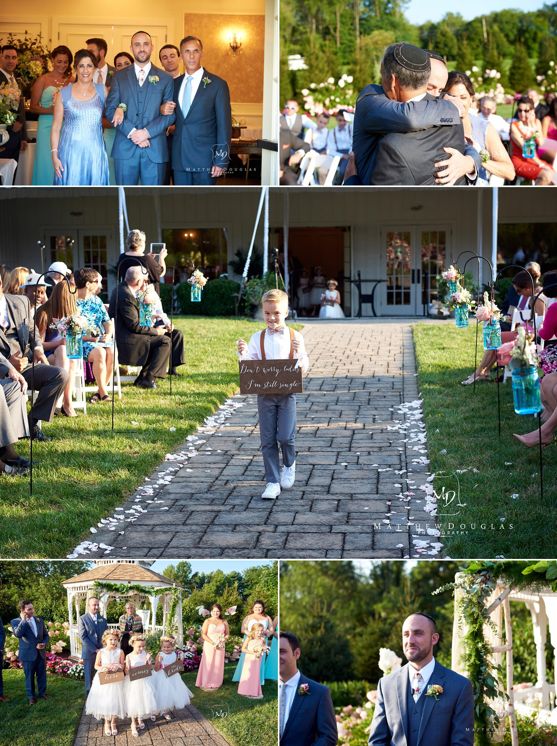 proceeding down the wedding aisle at The Farmhouse at The Grand Colonial