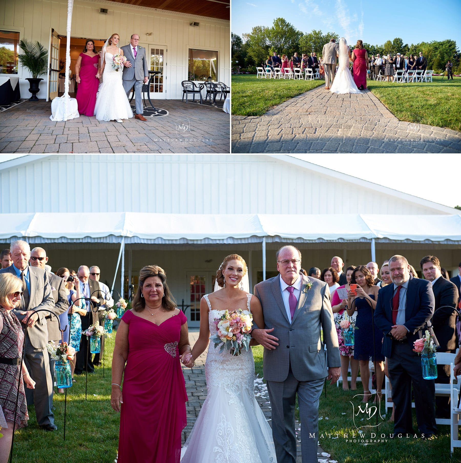 bride walking down the aisle at The Farmhouse at The Grand Colonial
