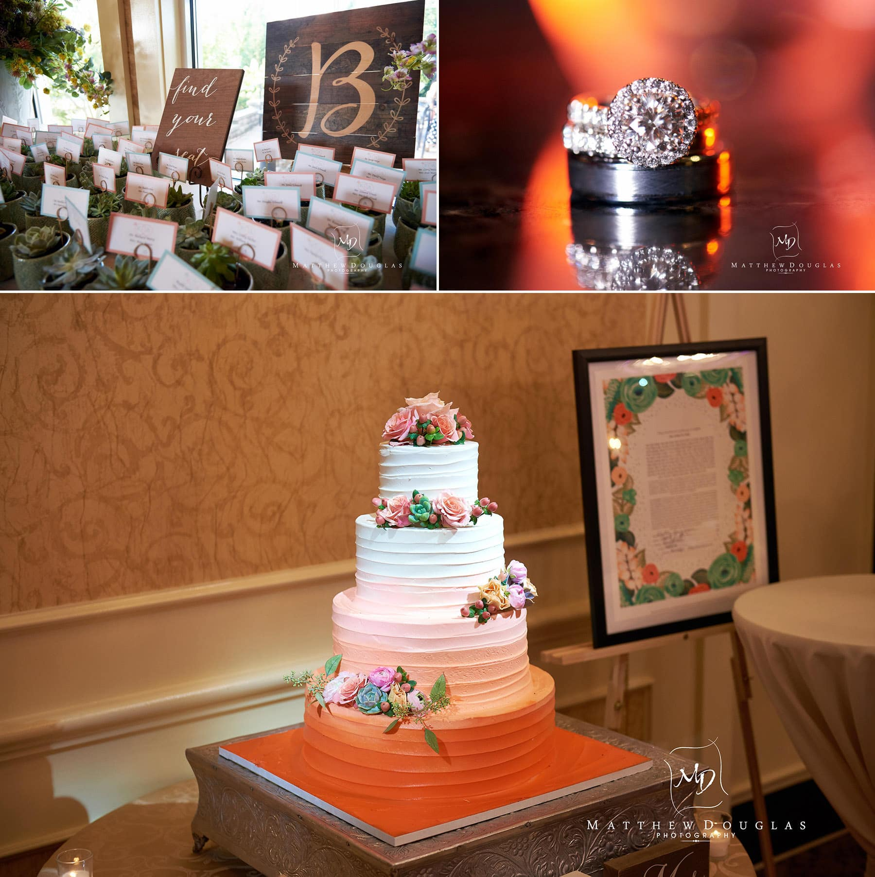 wedding cake rings and placecards at The Farmhouse at The Grand Colonial