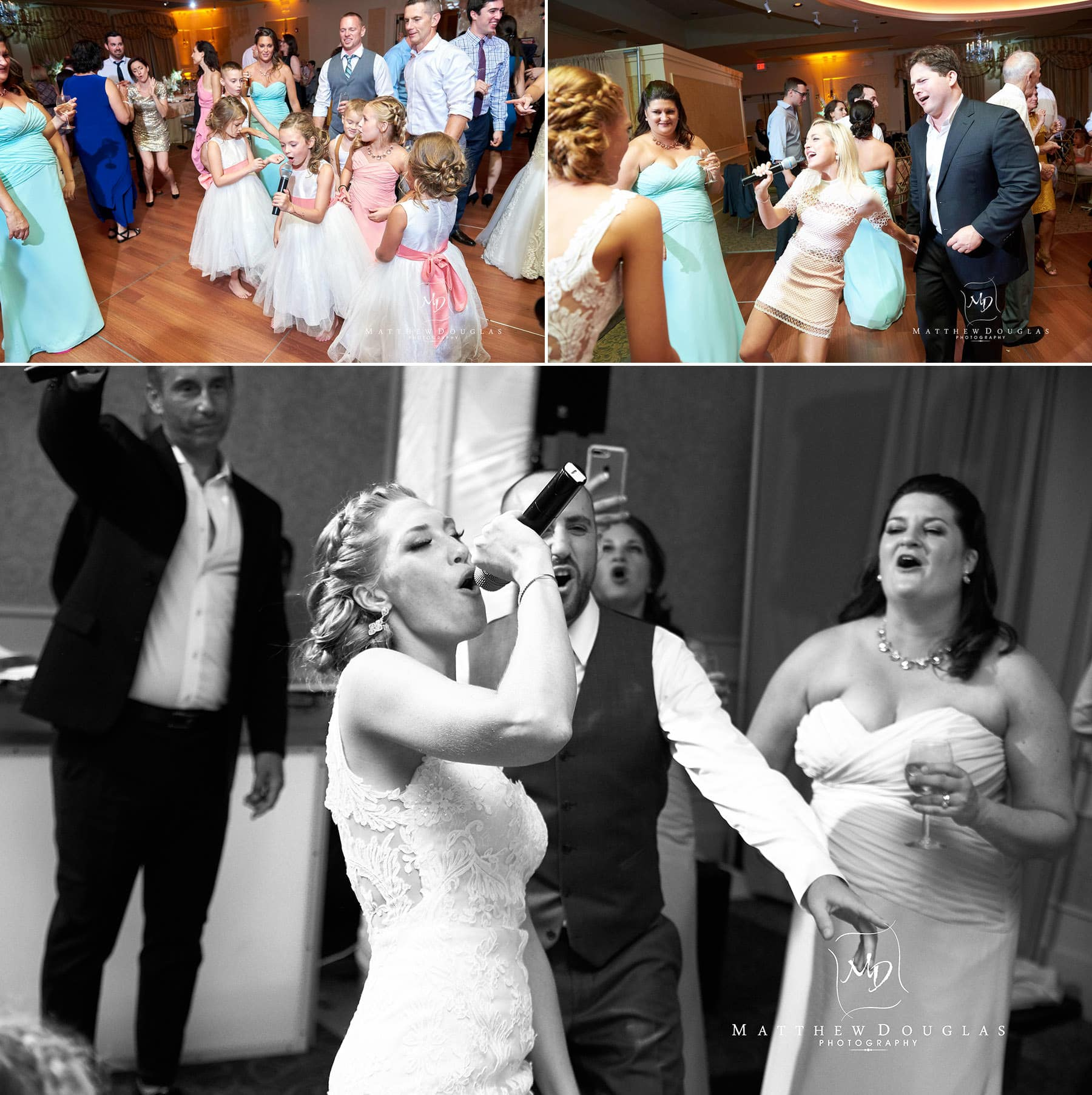 wedding guests sing along at The Farmhouse at The Grand Colonial