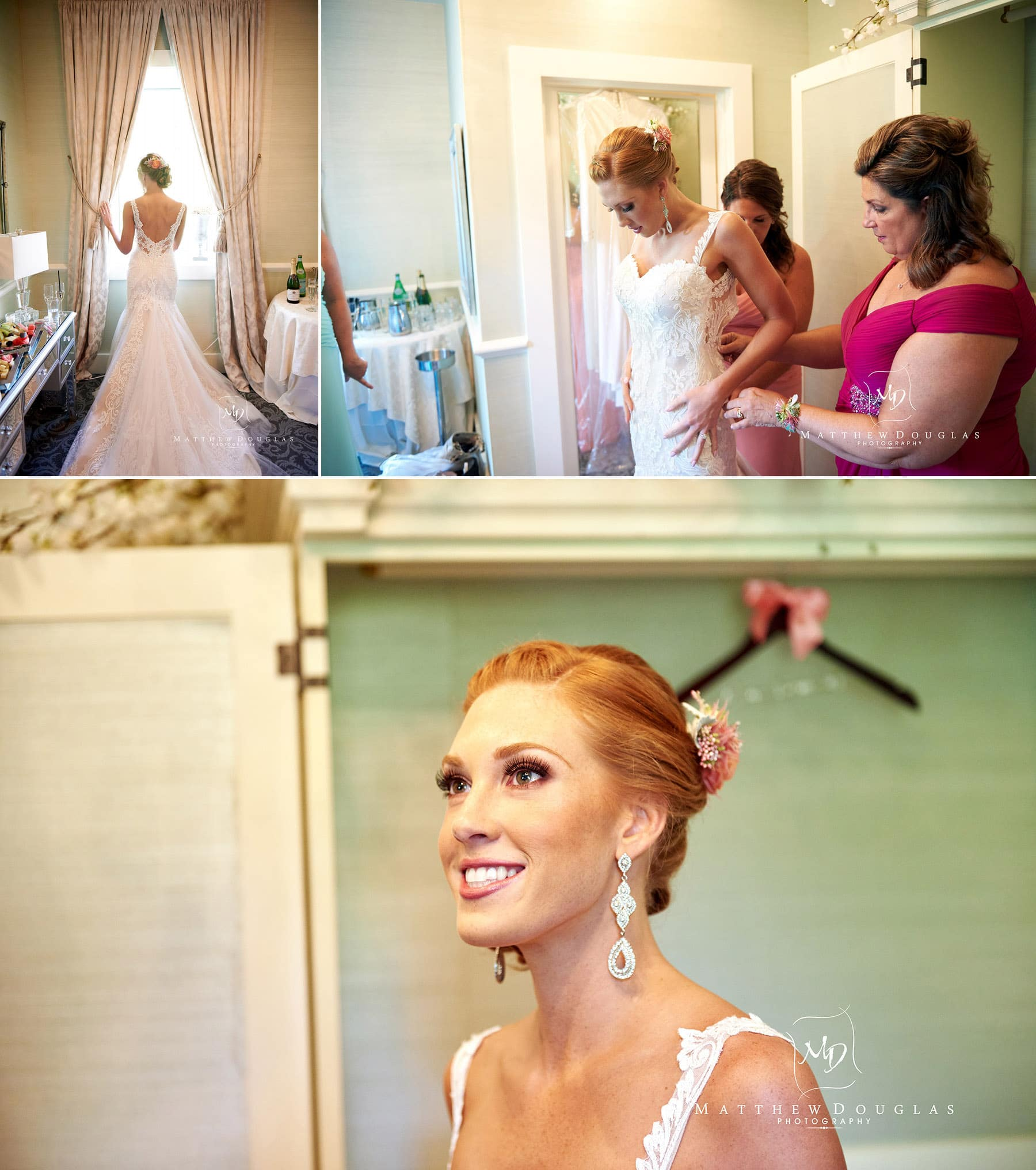bride getting ready for her wedding at The Farmhouse at The Grand Colonial