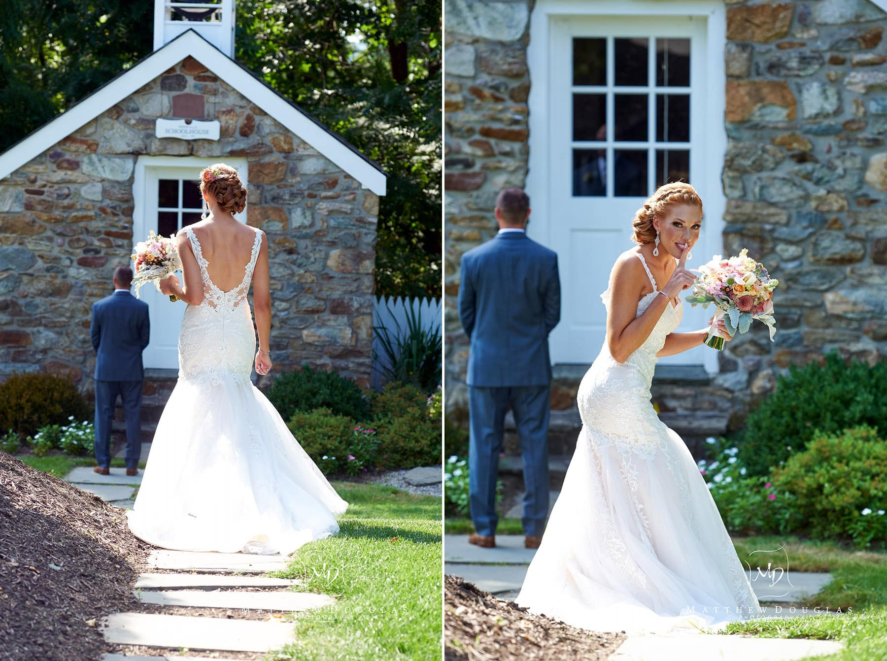 bride and groom first look at The Farmhouse at The Grand Colonial