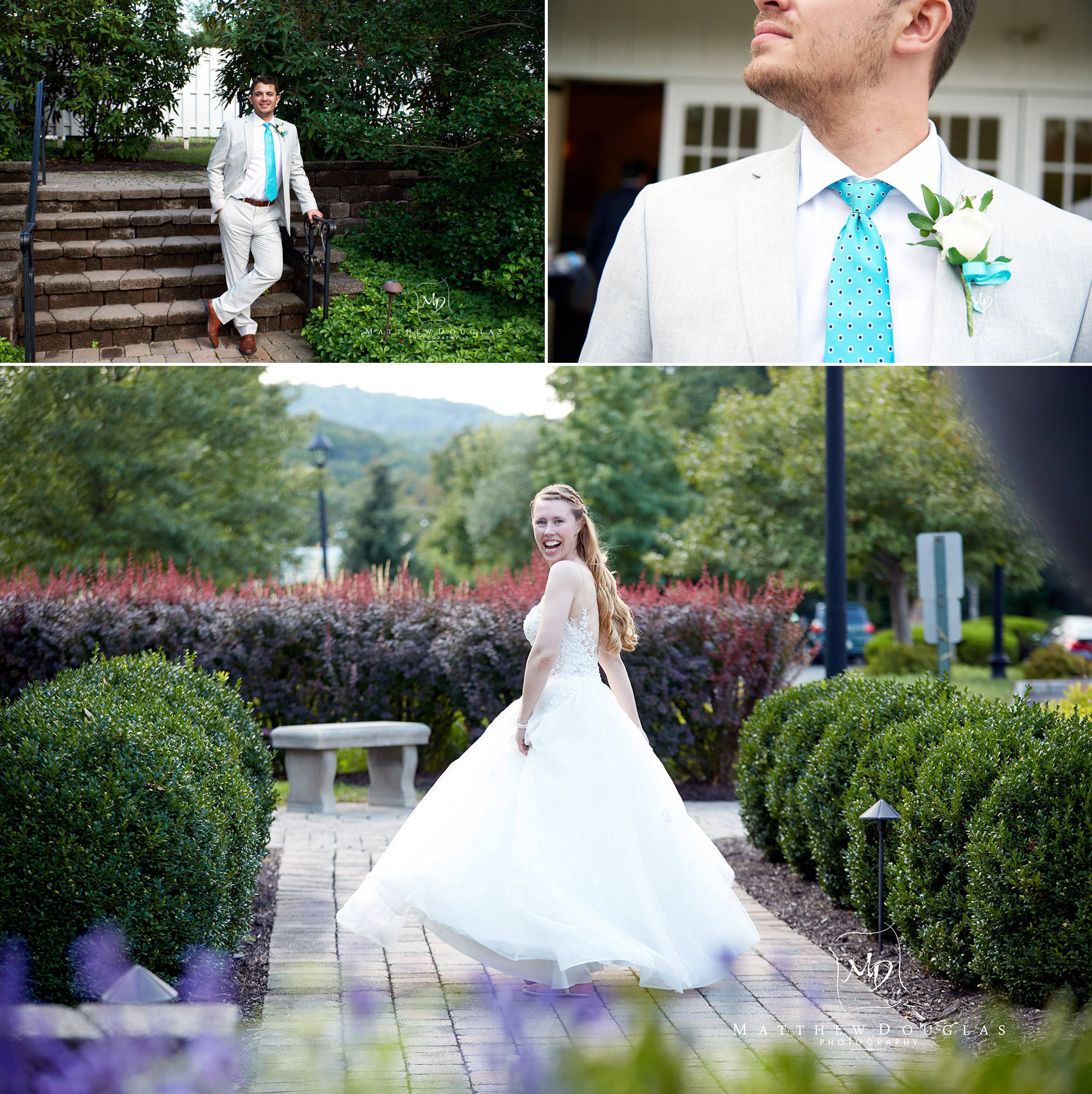 bride and groom individually at the farmhouse at the grand colonial