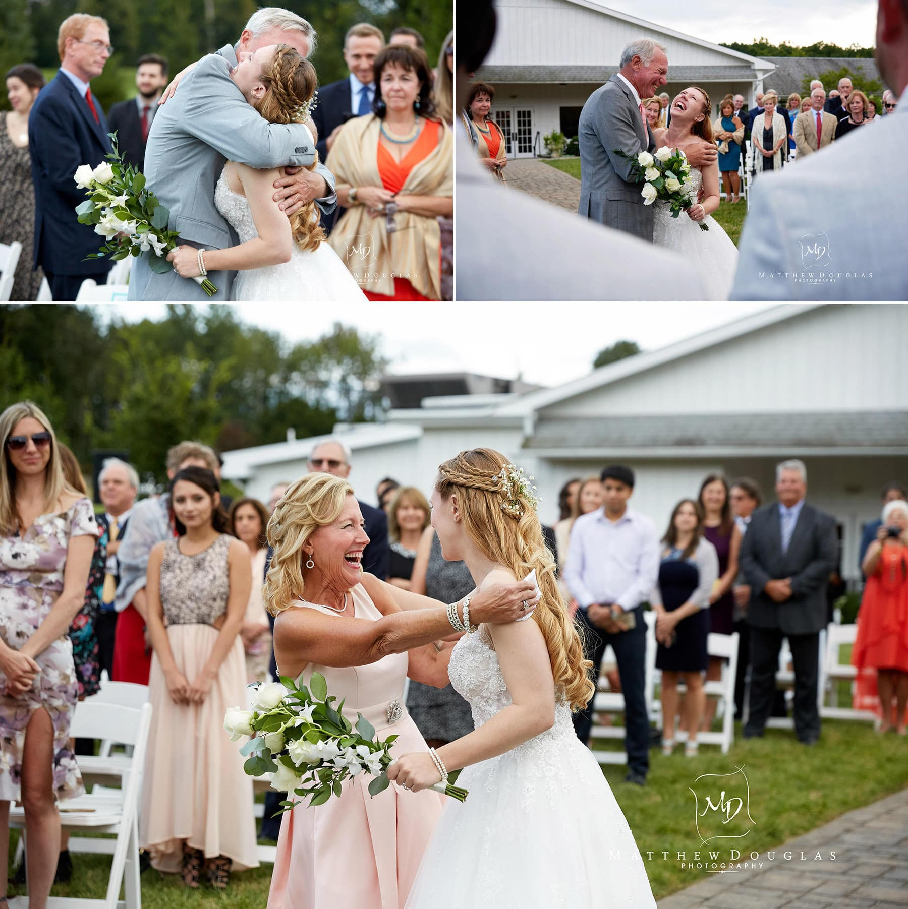 giving the bride away photo at the farmhouse at the grand colonial