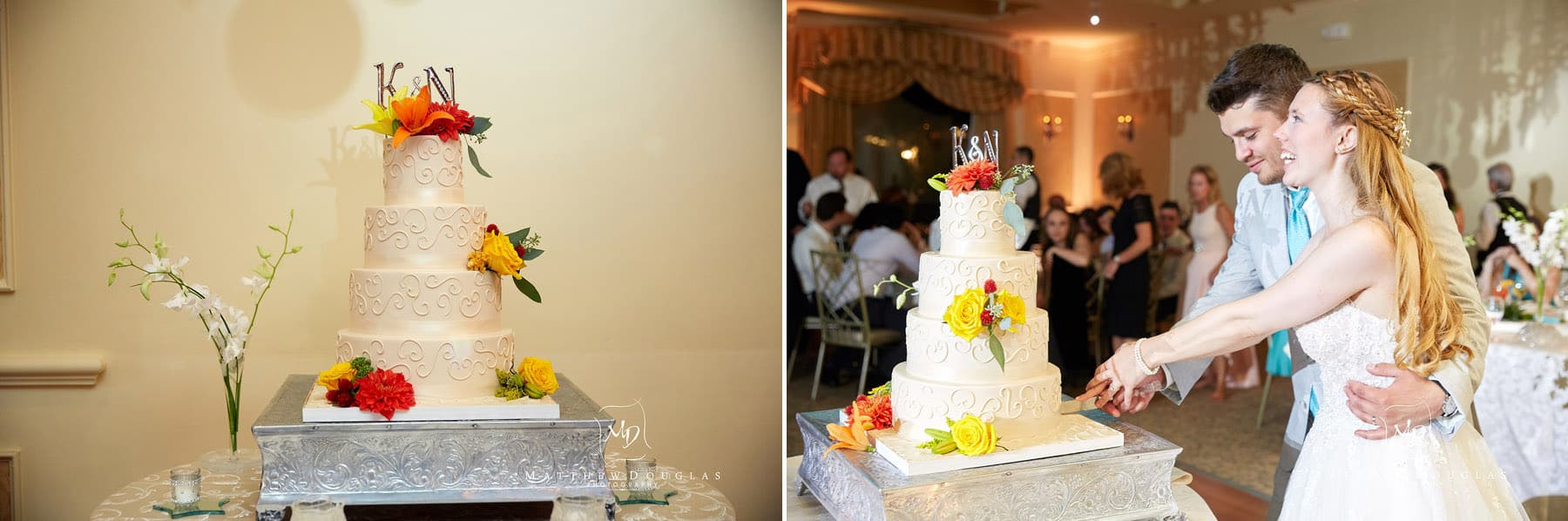 wedding cake cutting at the farmhouse at the grand colonial