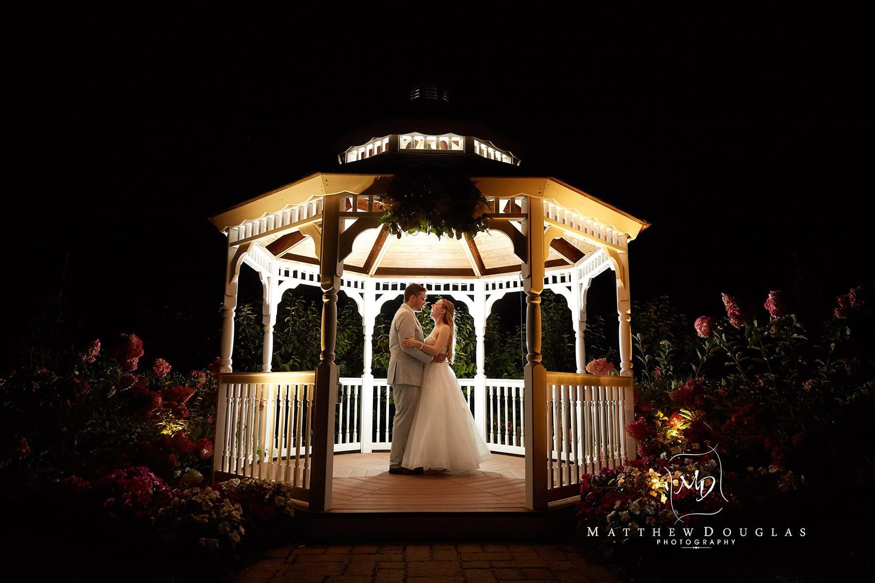 wedding gazebo at night