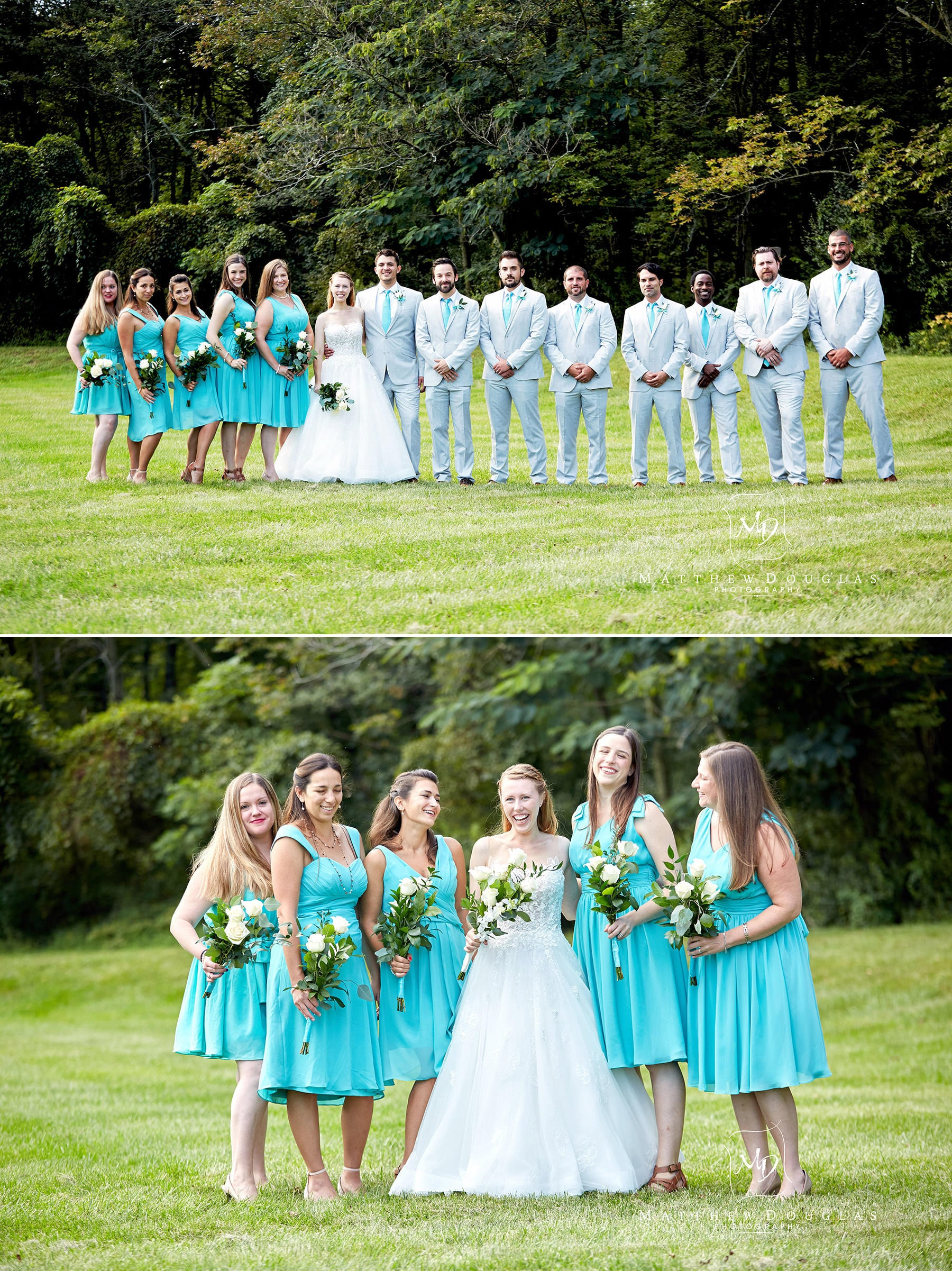bridal party wedding photos at the farmhouse at the grand colonial