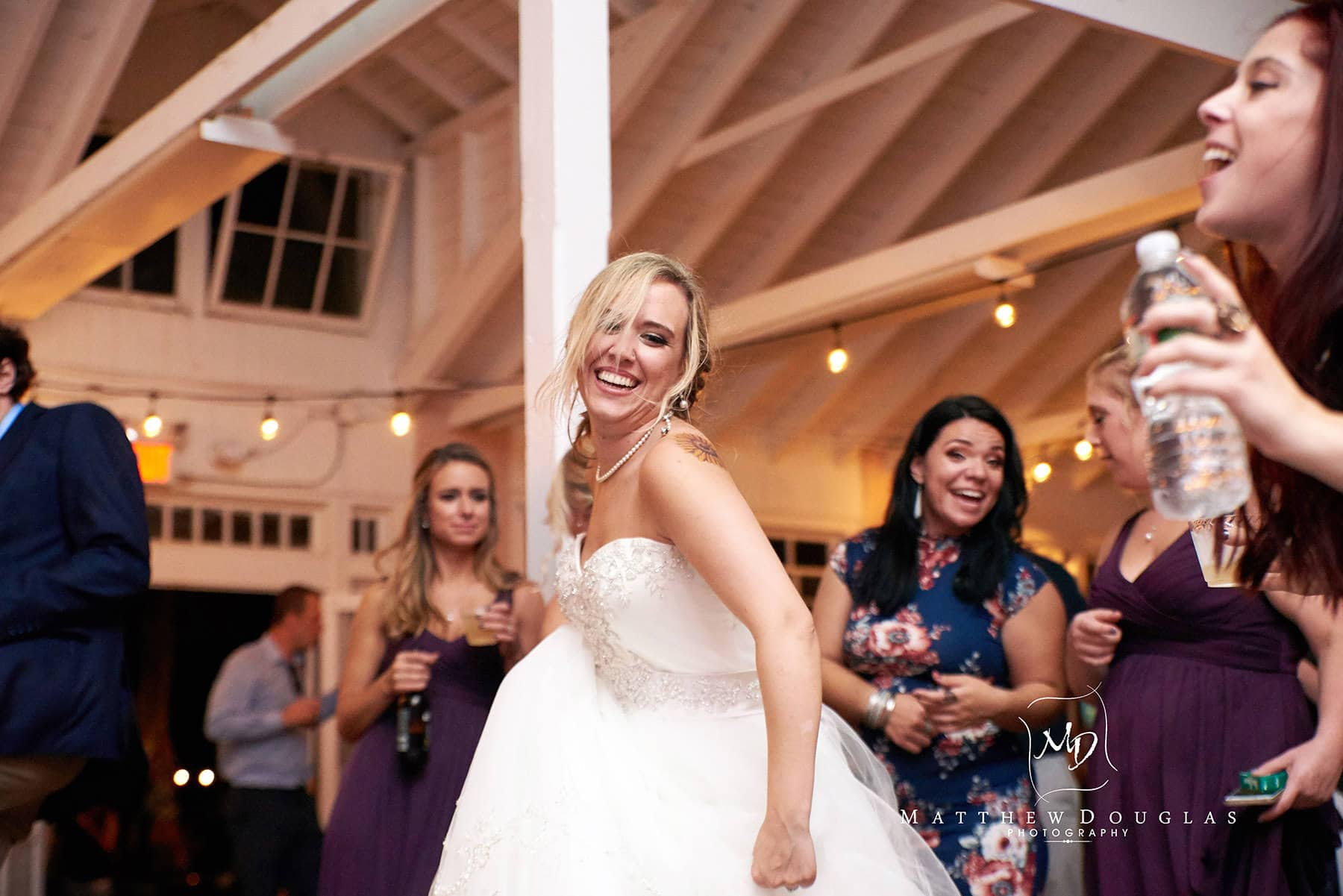 smiling bride on her wedding day at brady life camp