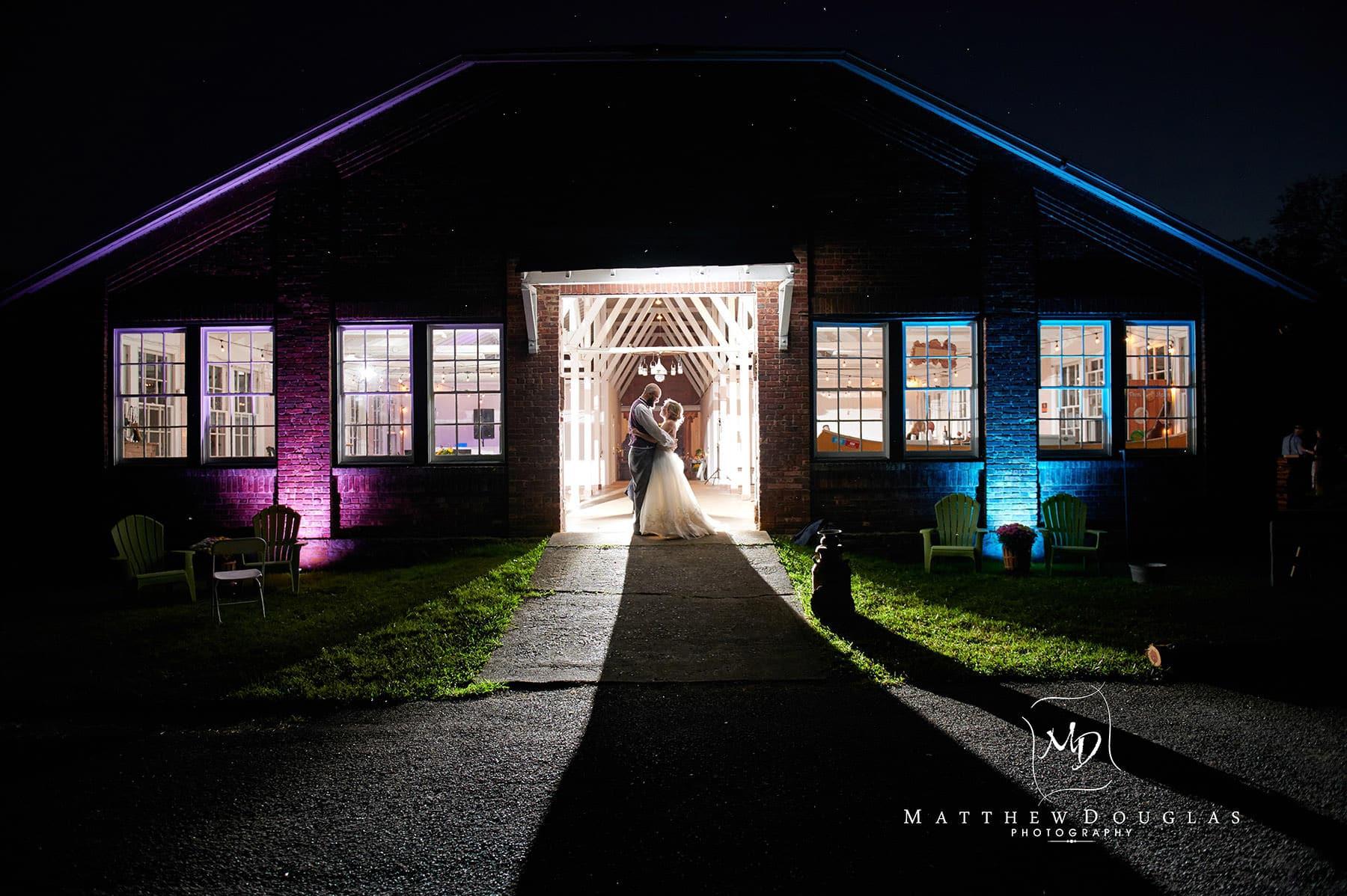 nighttime wedding portrait at brady life camp