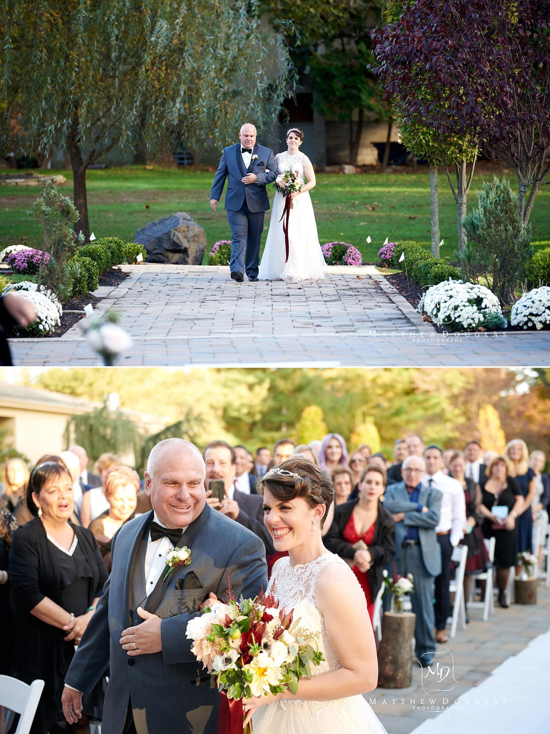bride walking down aisle at The Estate at Farrington Lake