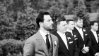 farmhouse grand colonial wedding groom reaction