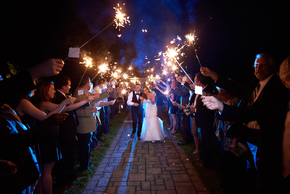 farmhouse grand colonial wedding sparklers photo