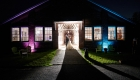 rustic barn wedding at night photo