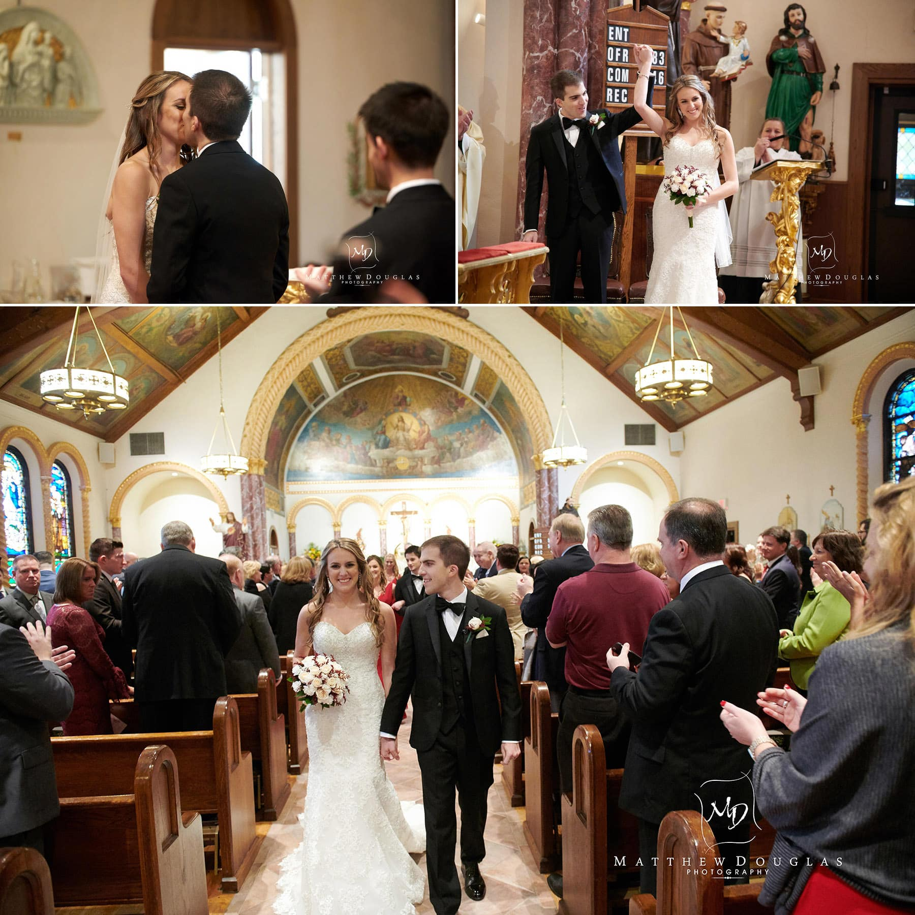 first kiss and church exit wedding photo