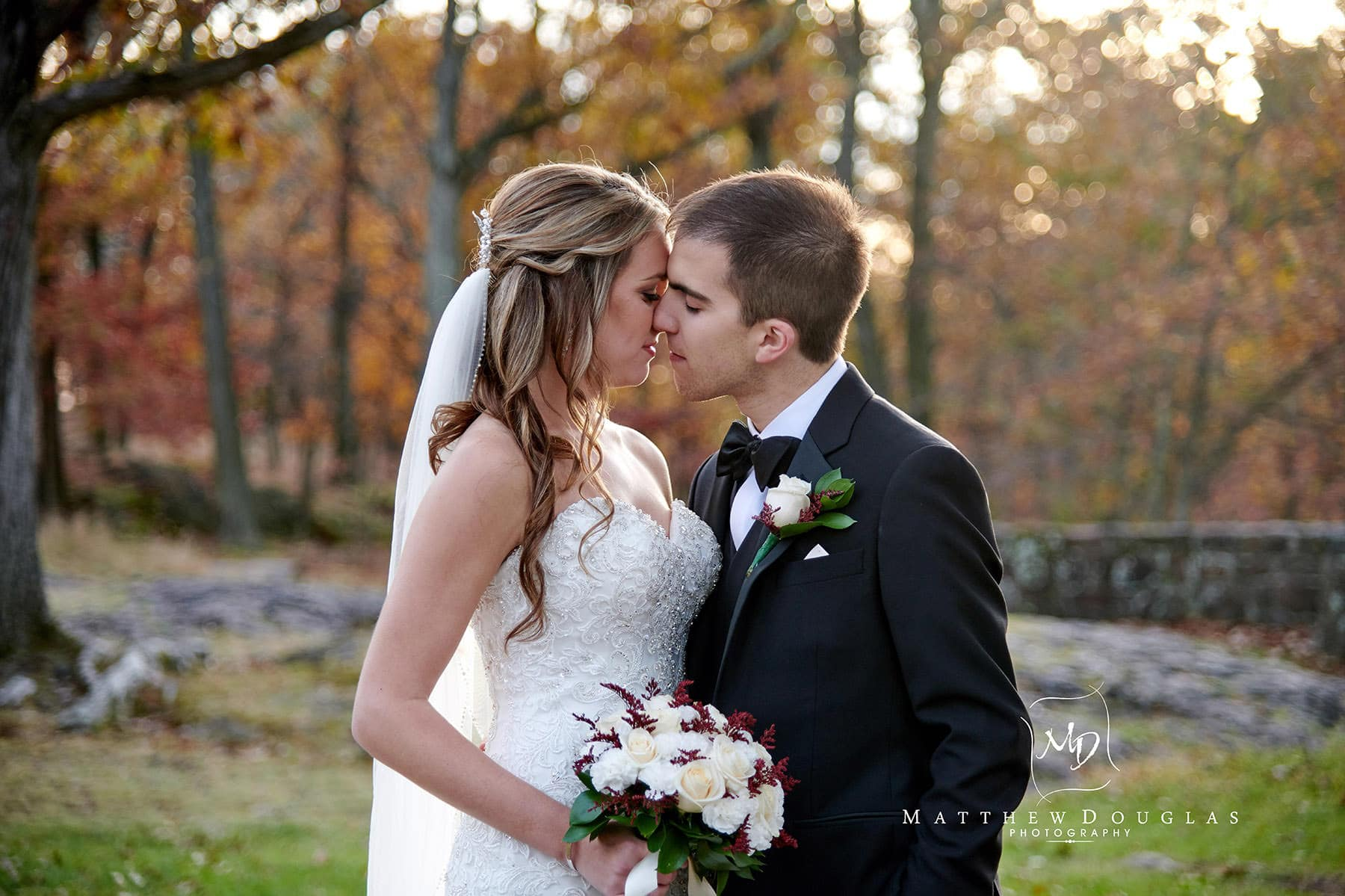 fall sunset wedding photo garret mountain nj