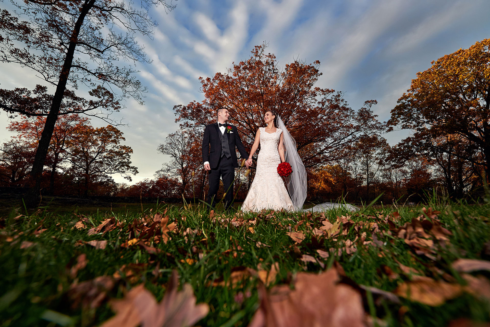dramatic garret mountain wedding photo