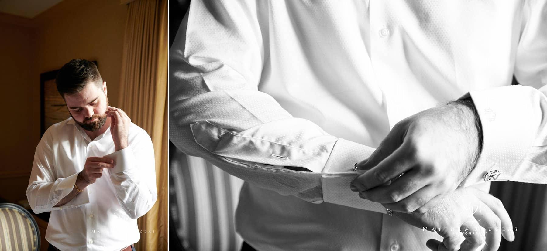lambertville station inn wedding groom prep photo