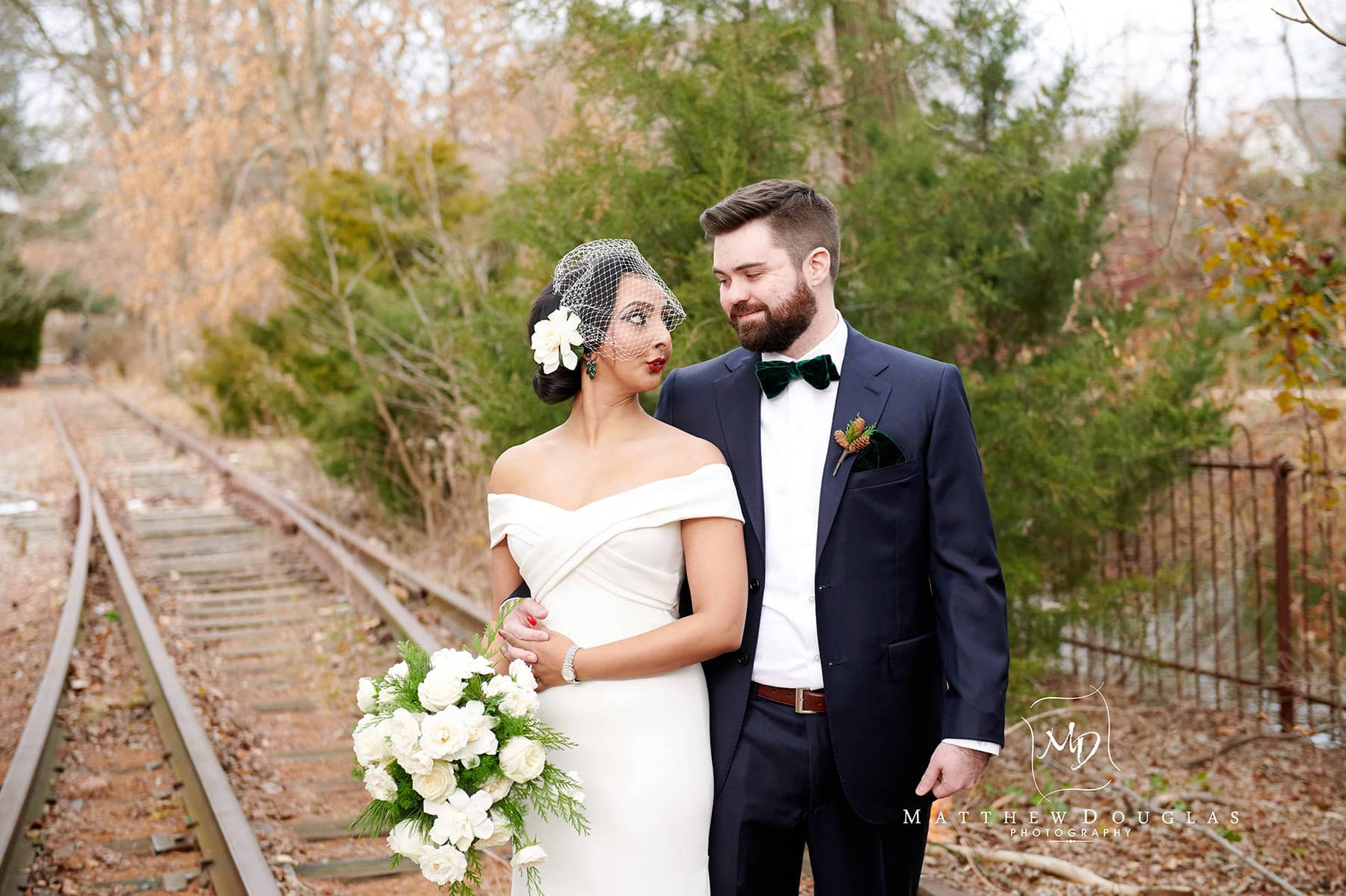 bride and groom photo on the towpath in lambertville nj