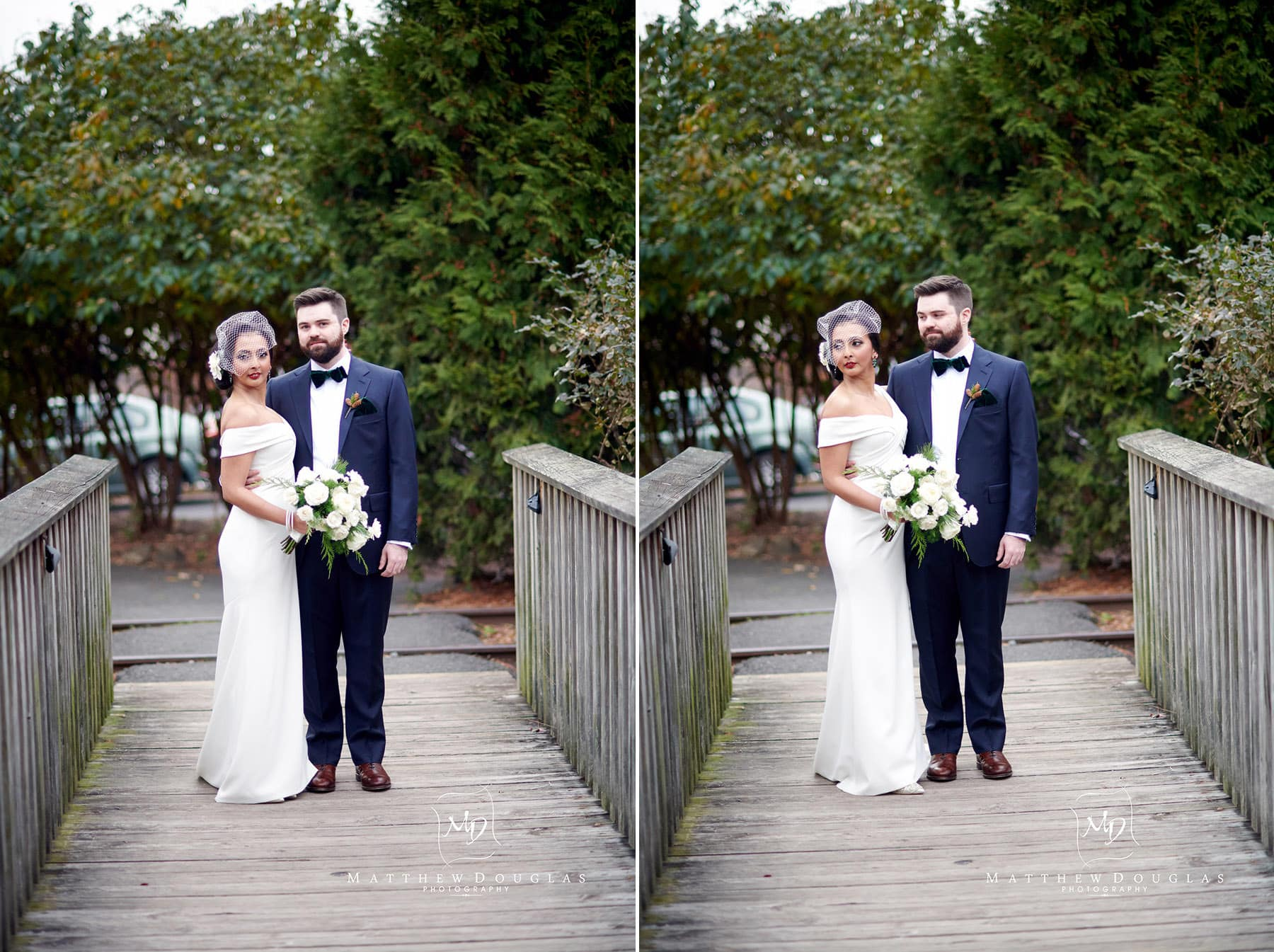photo of bride and groom on the towpath bridge in lambertville nj