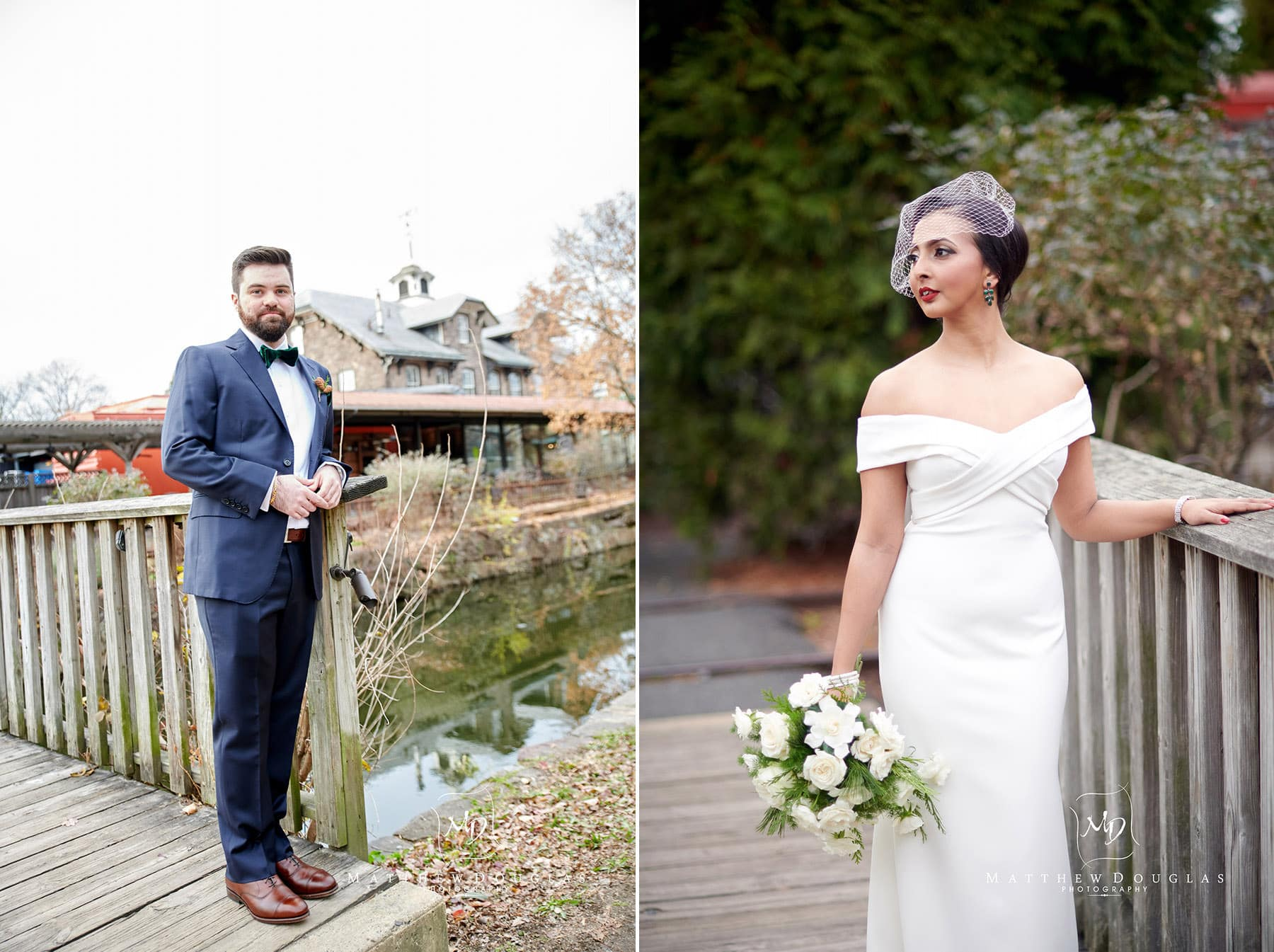 a bride and grooms photos in lambertville nj