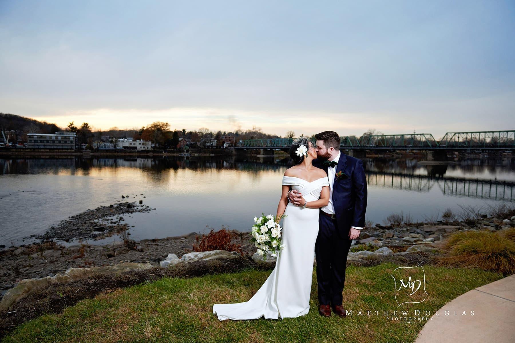 lambertville station inn wedding photo at dusk