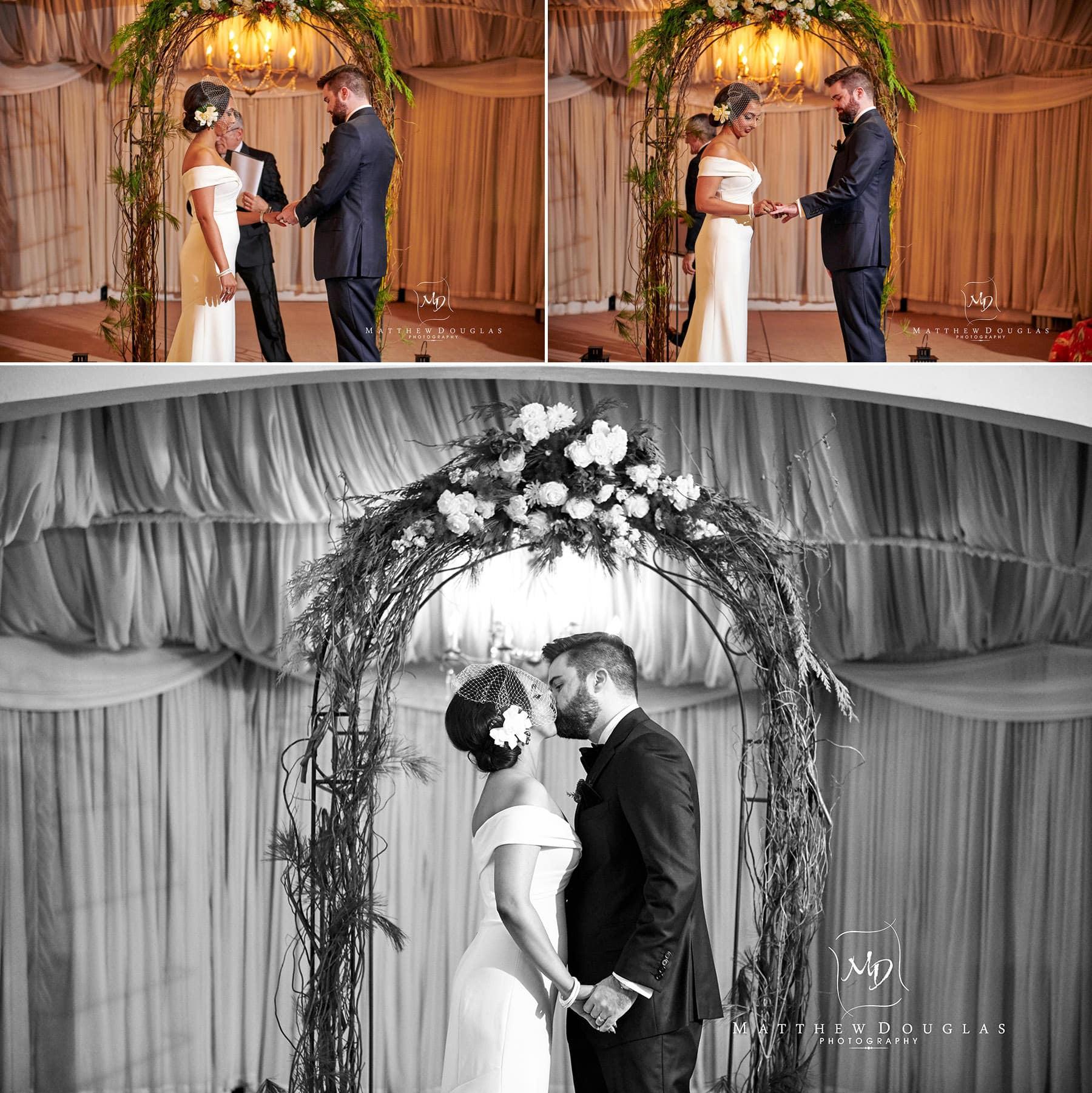 lambertville station inn wedding ceremony first kiss photo