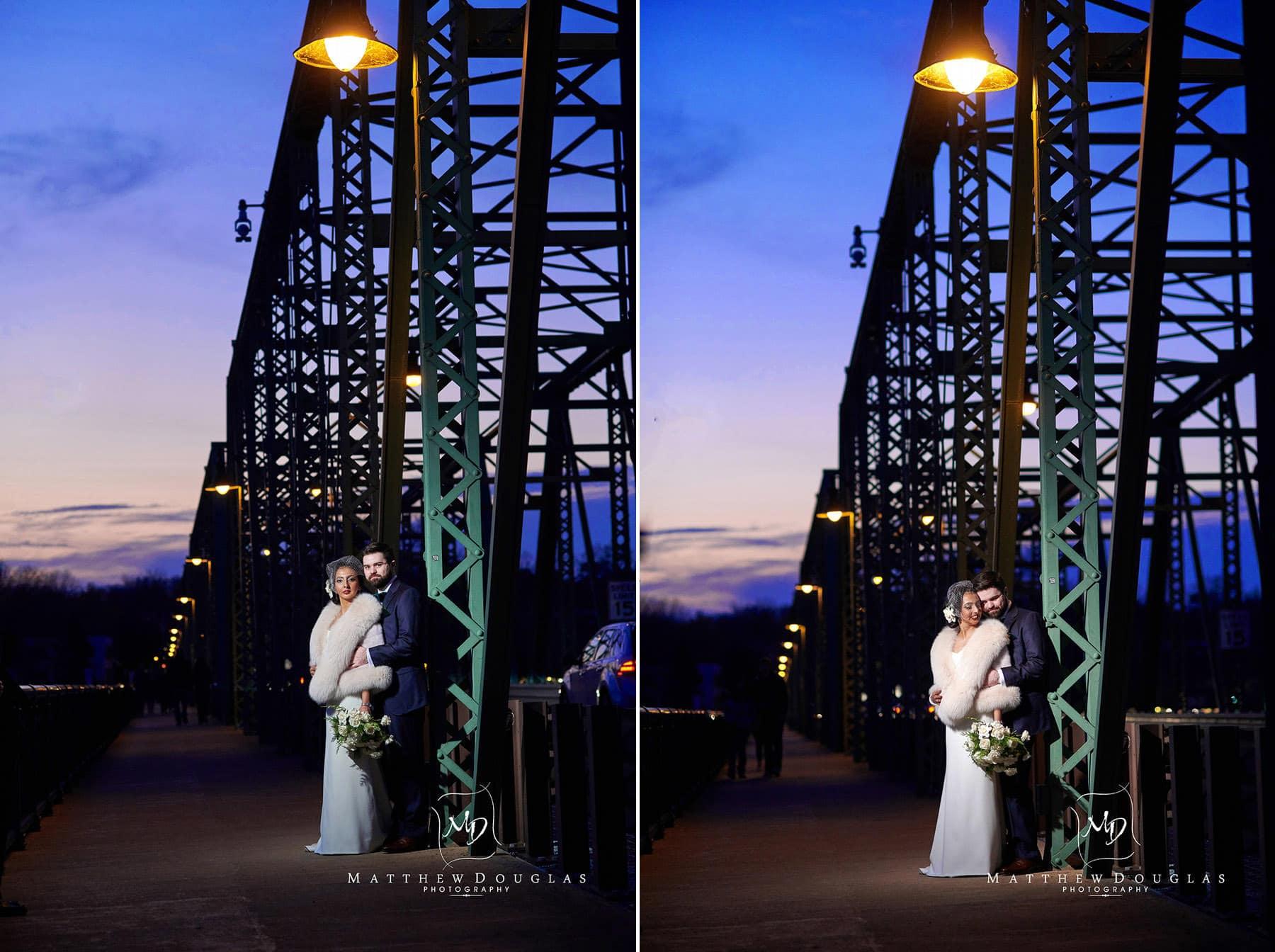night portrait bridge lambertville station inn wedding photo