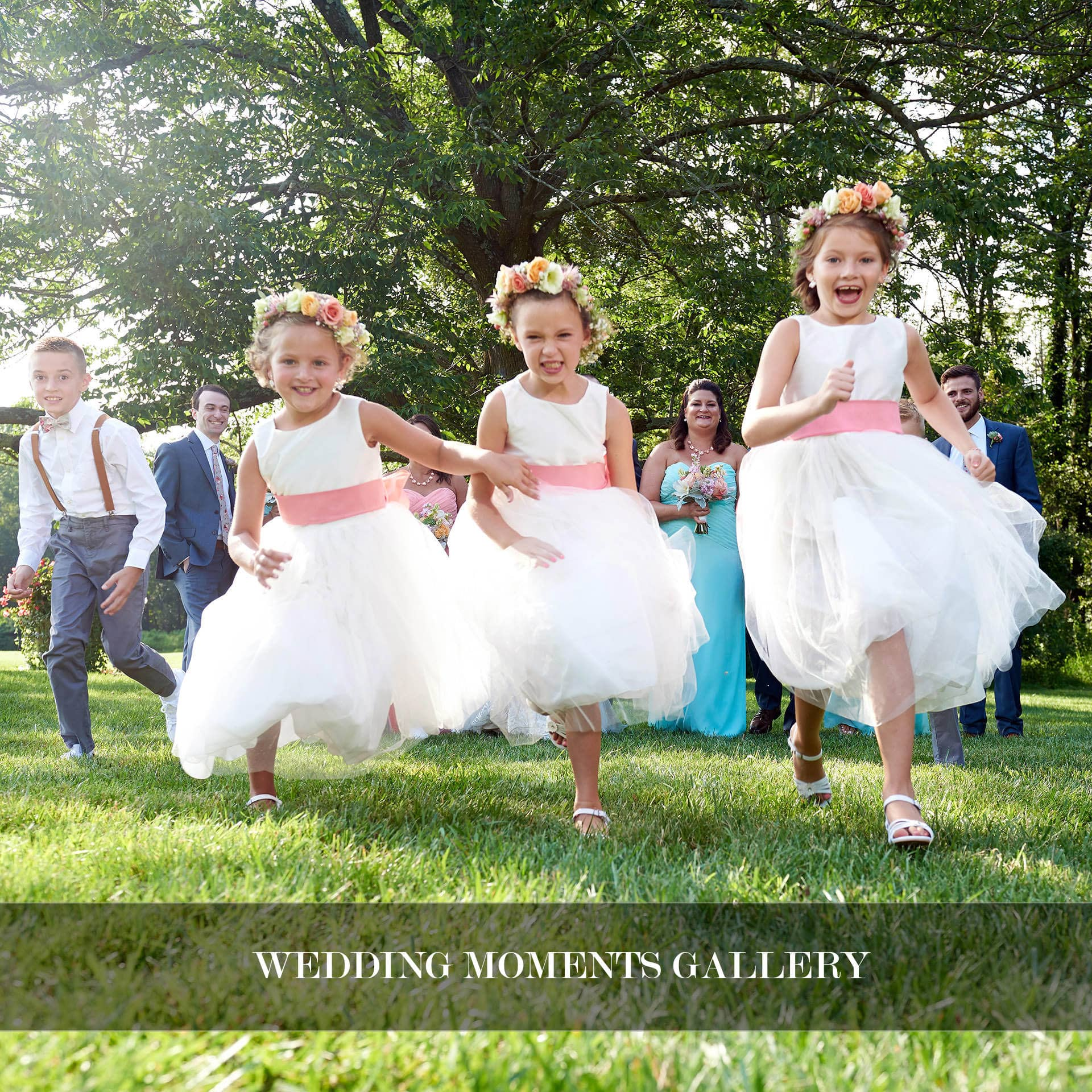 cute flowergirls running towards the camera photo