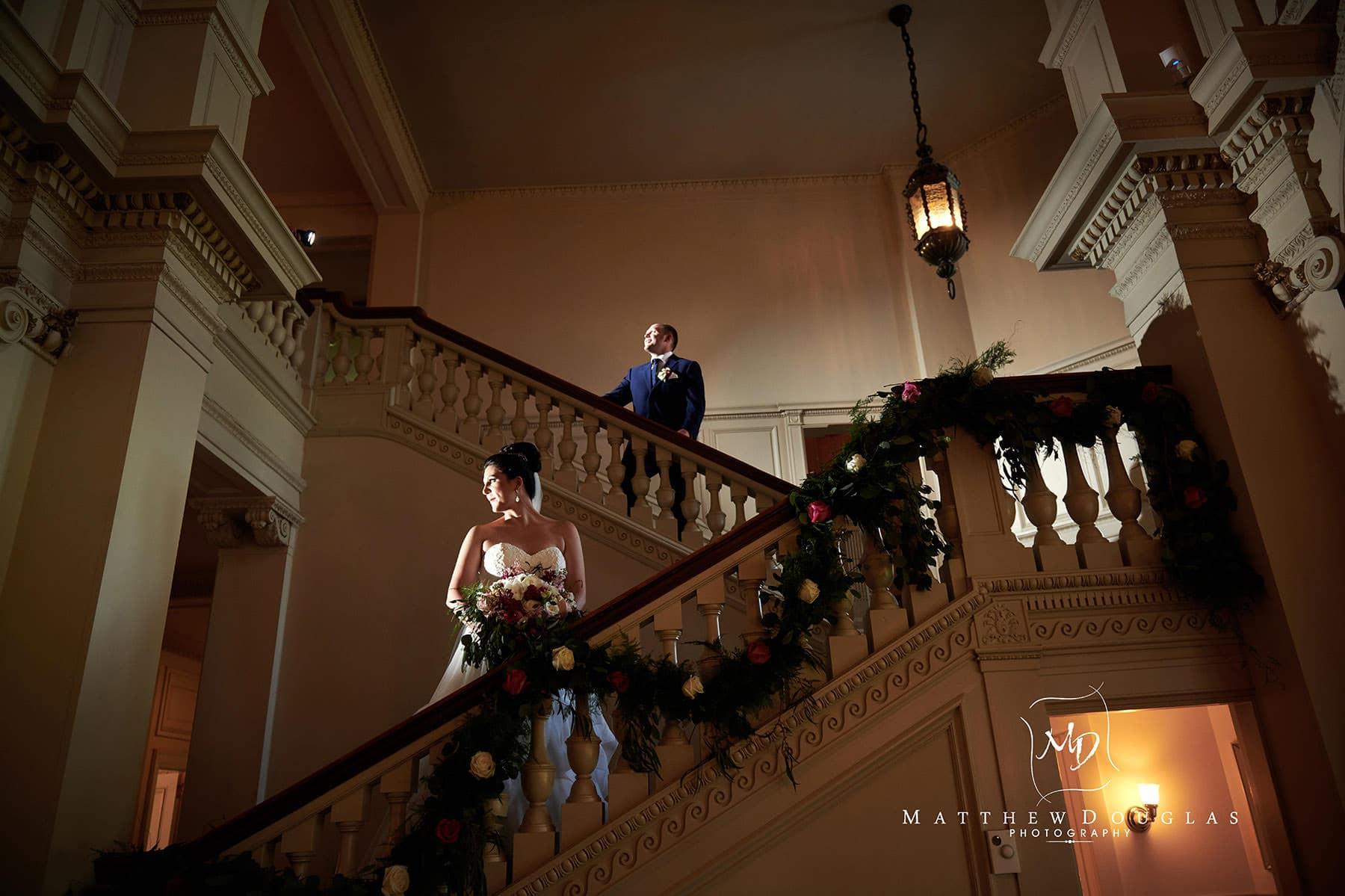 cairnwood estate wedding staircase photo