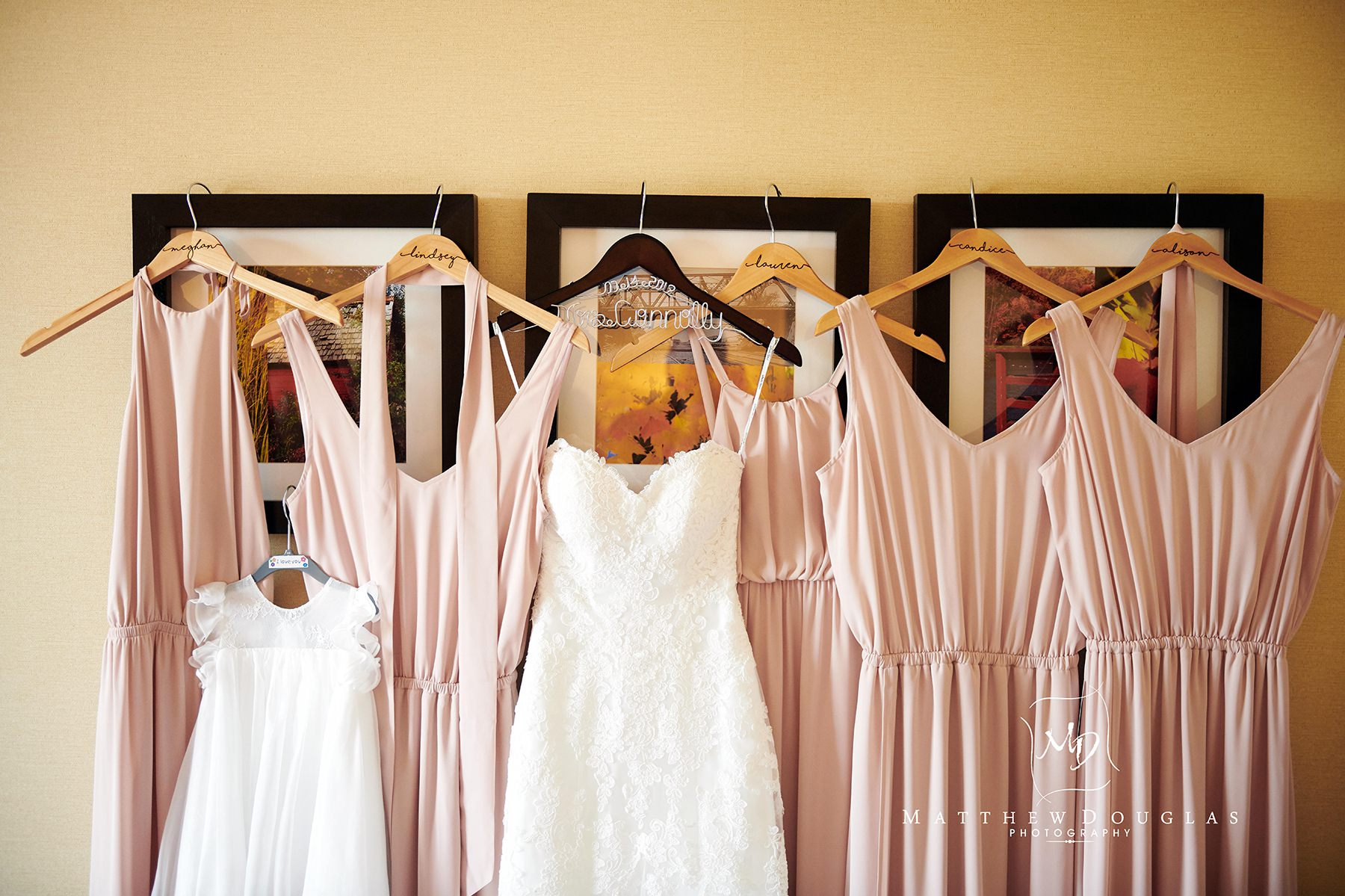 bridesmaids and wedding dress photo