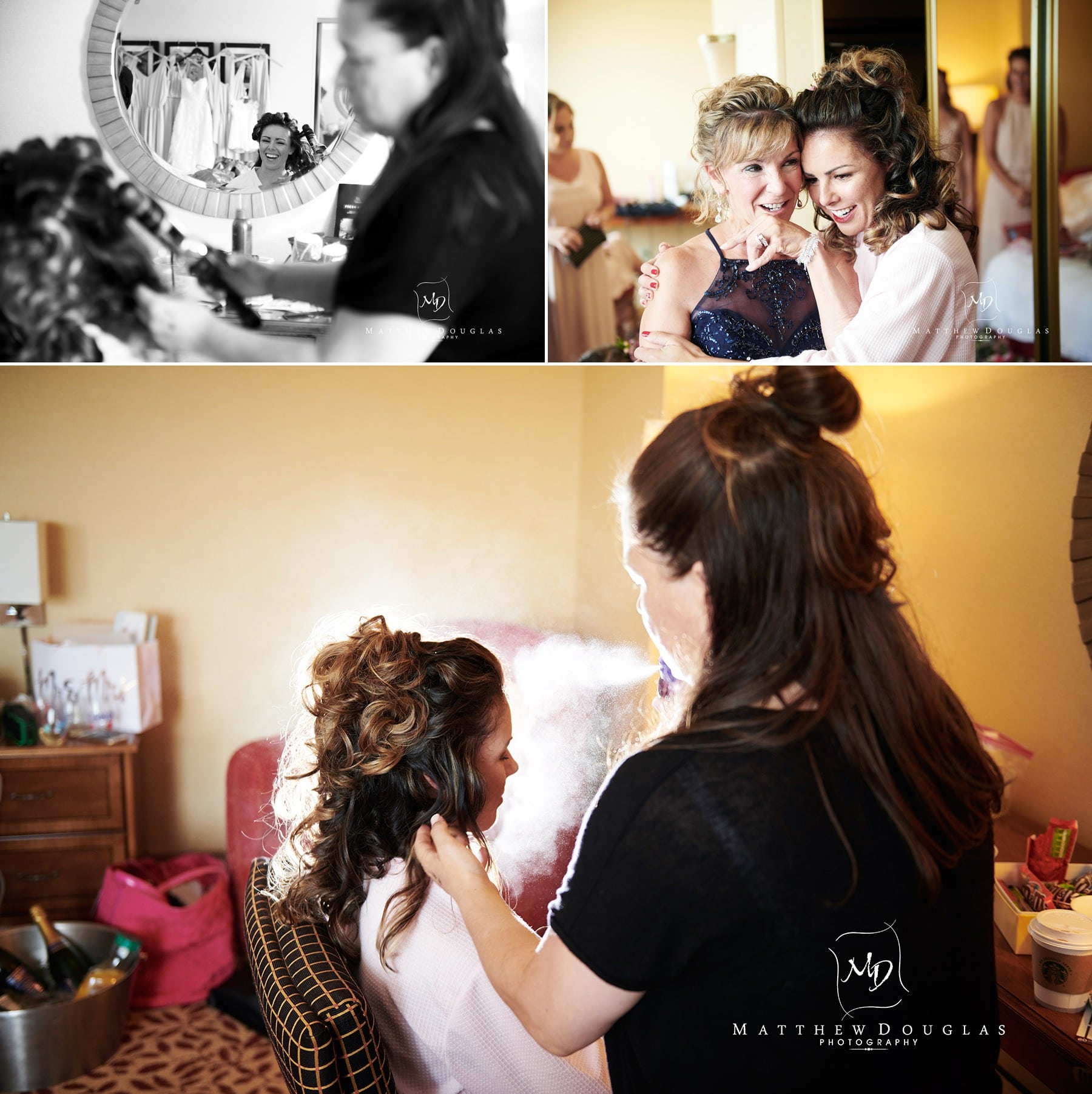 bride getting ready for ryland inn wedding