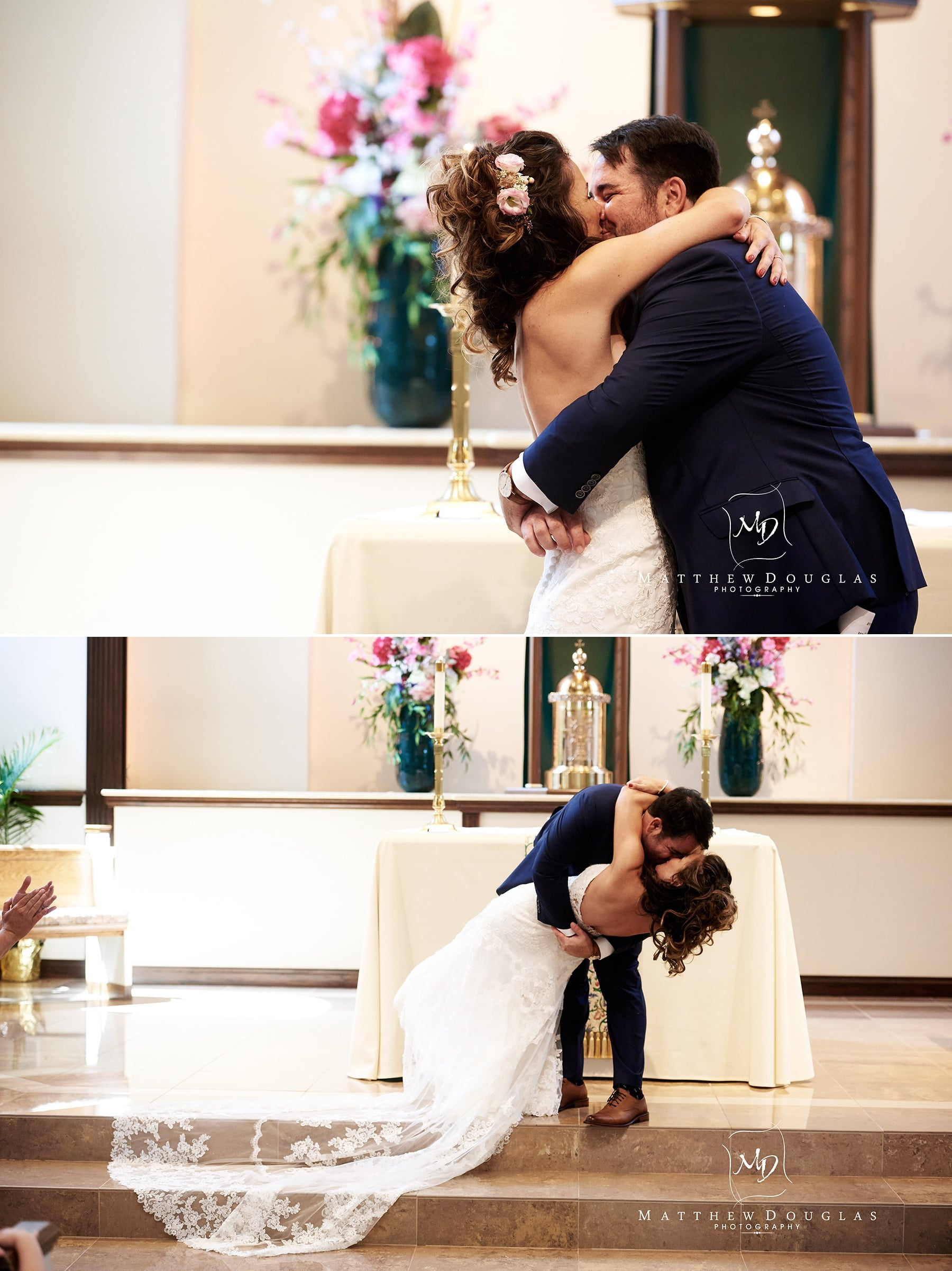wedding first kiss alter photo
