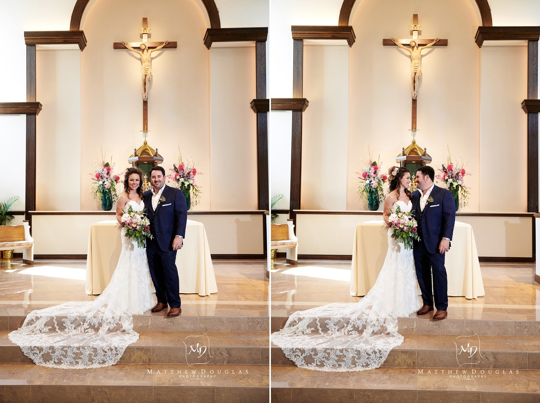 formal church alter wedding photo