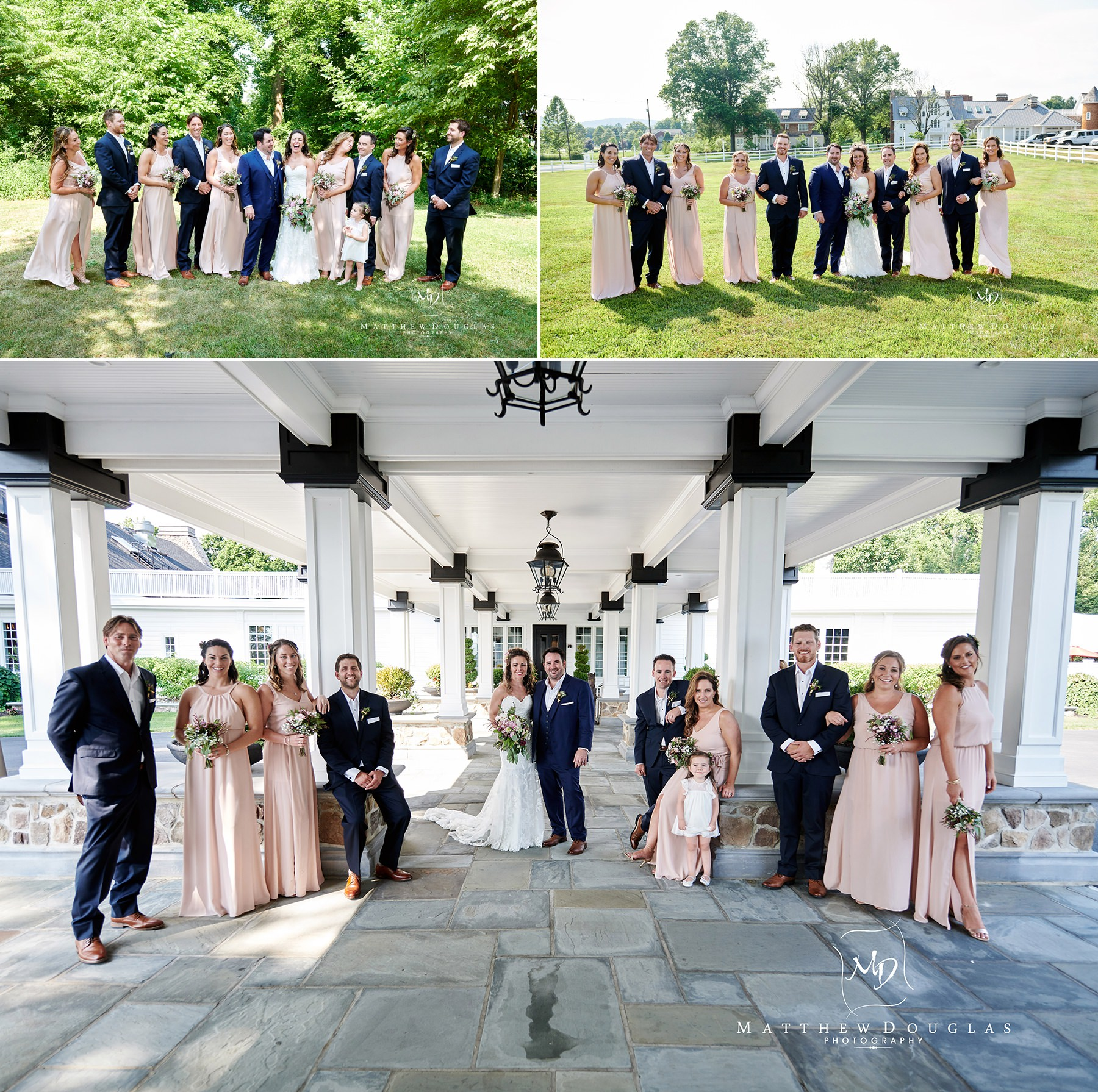 bridal party photos at ryland inn wedding