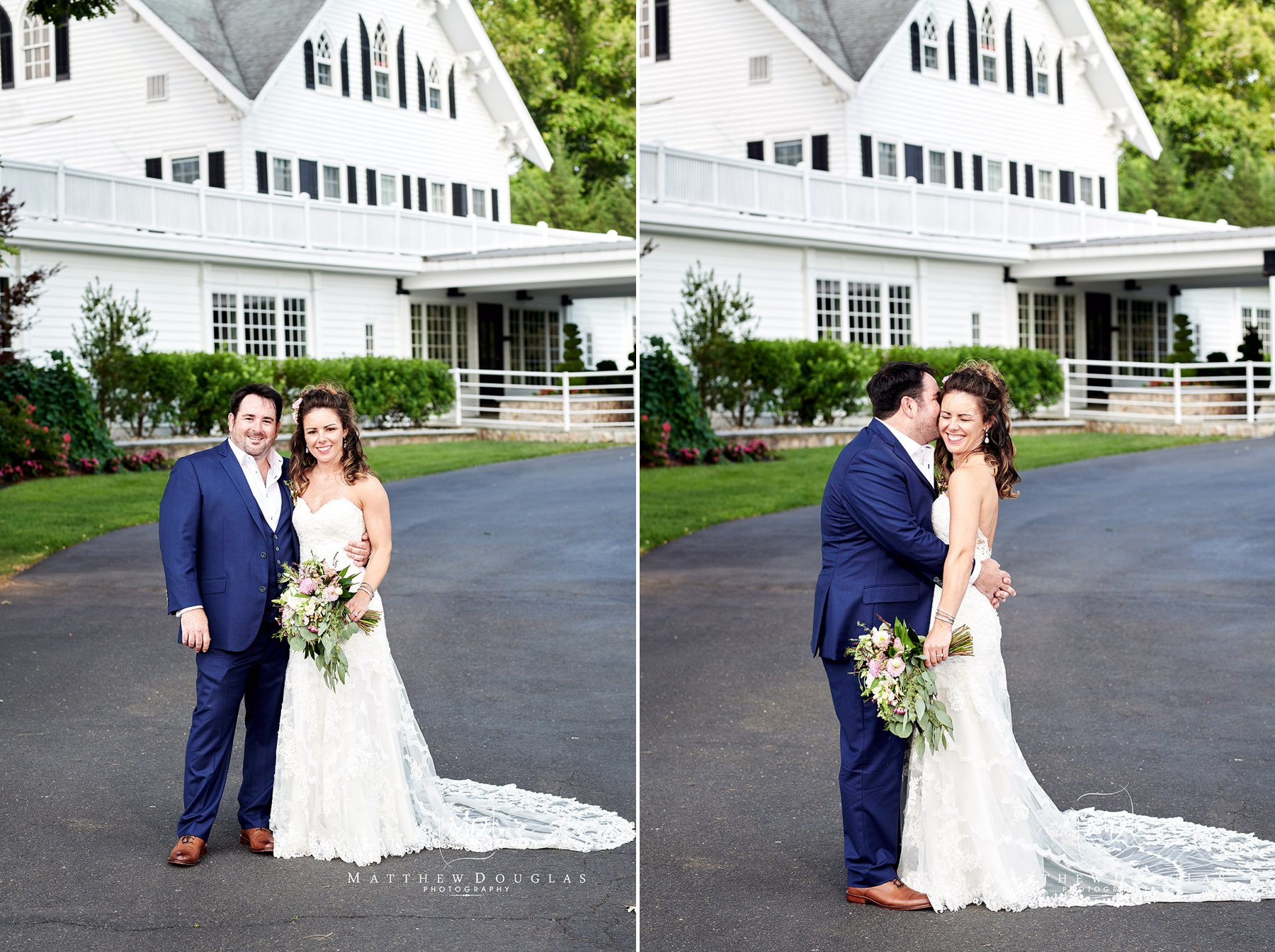 similing couple at their ryland inn wedding