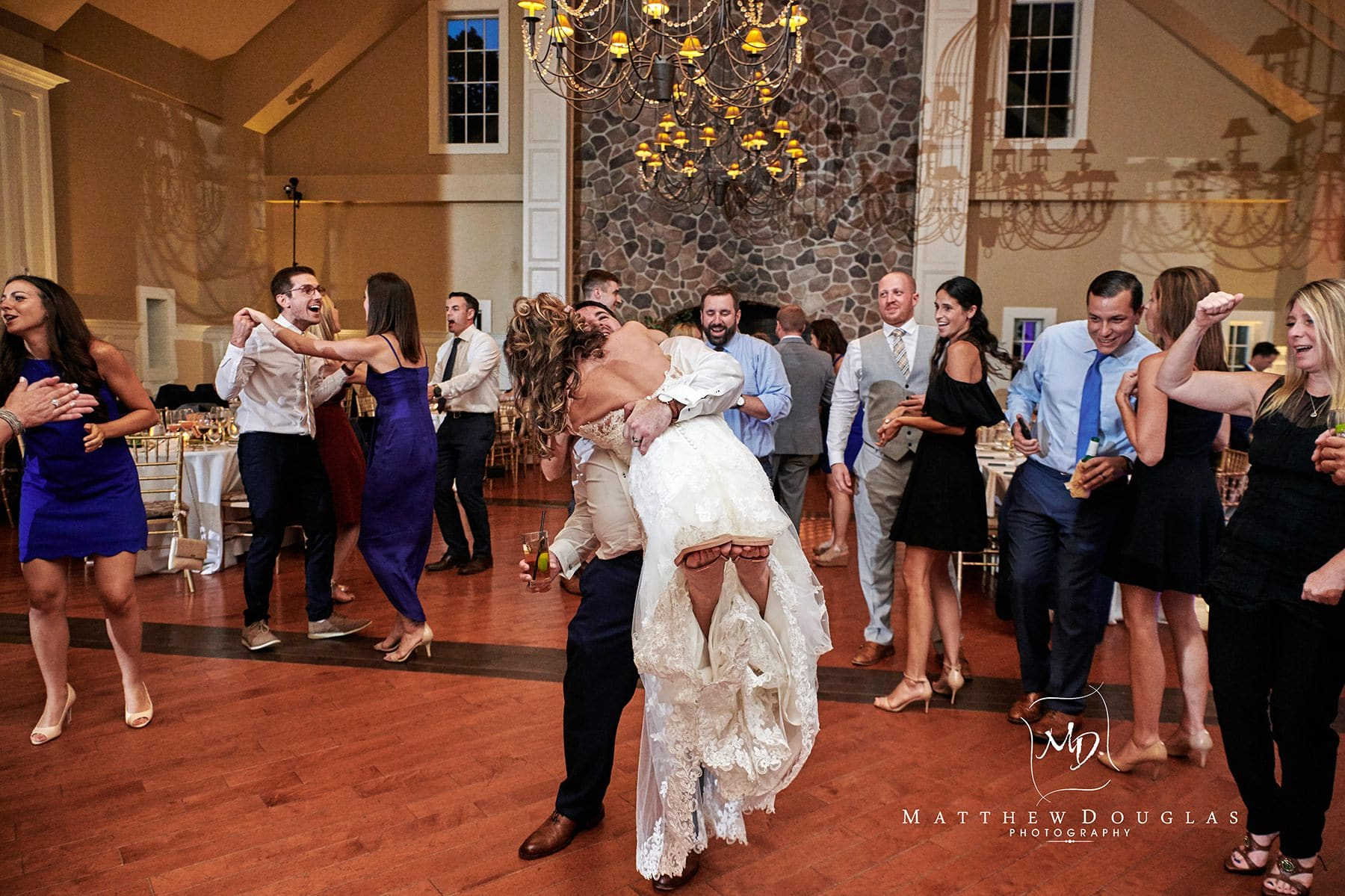 bride scooped off her feet dancing ryland inn wedding