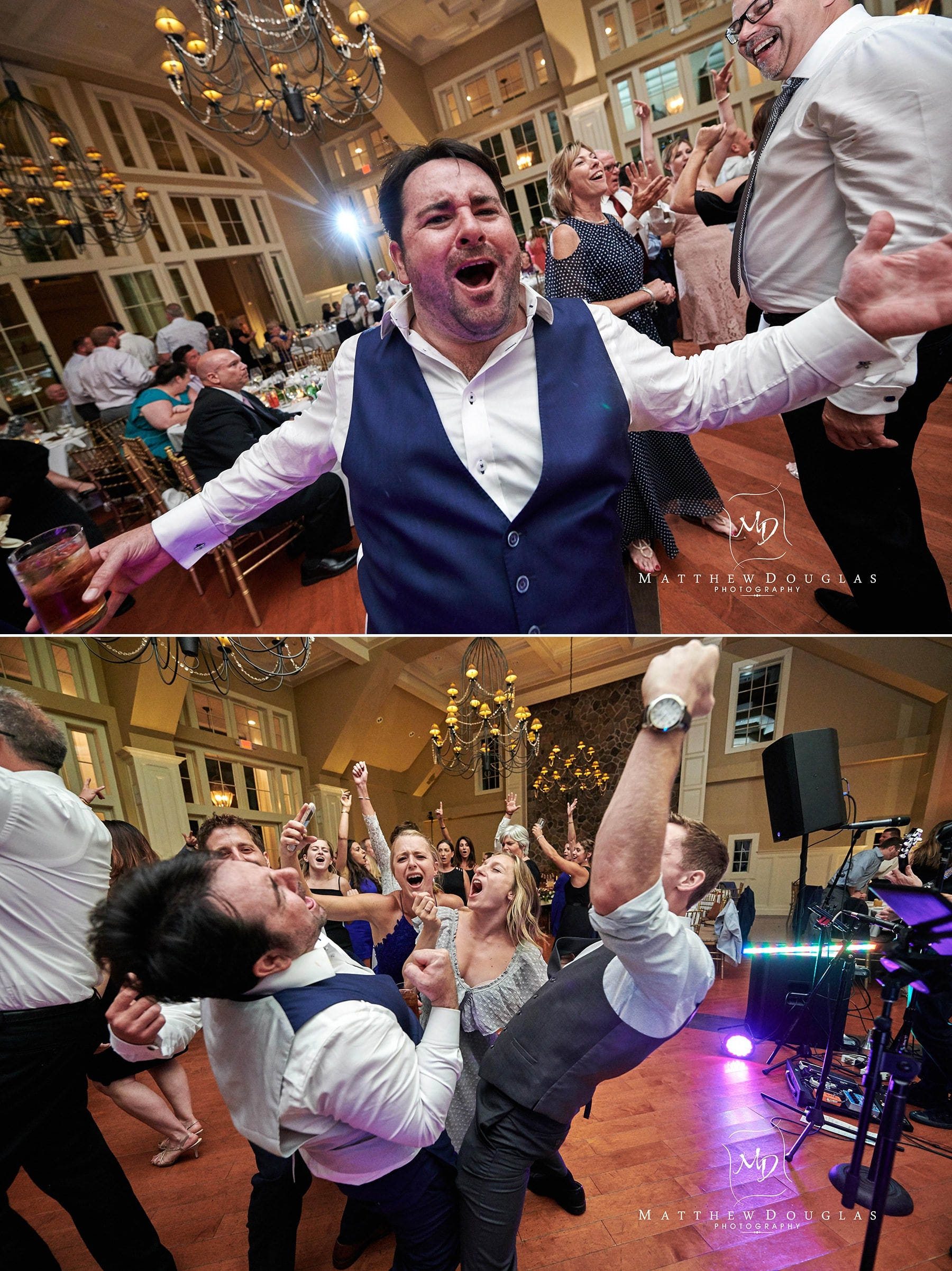 groom going nuts at ryland inn wedding