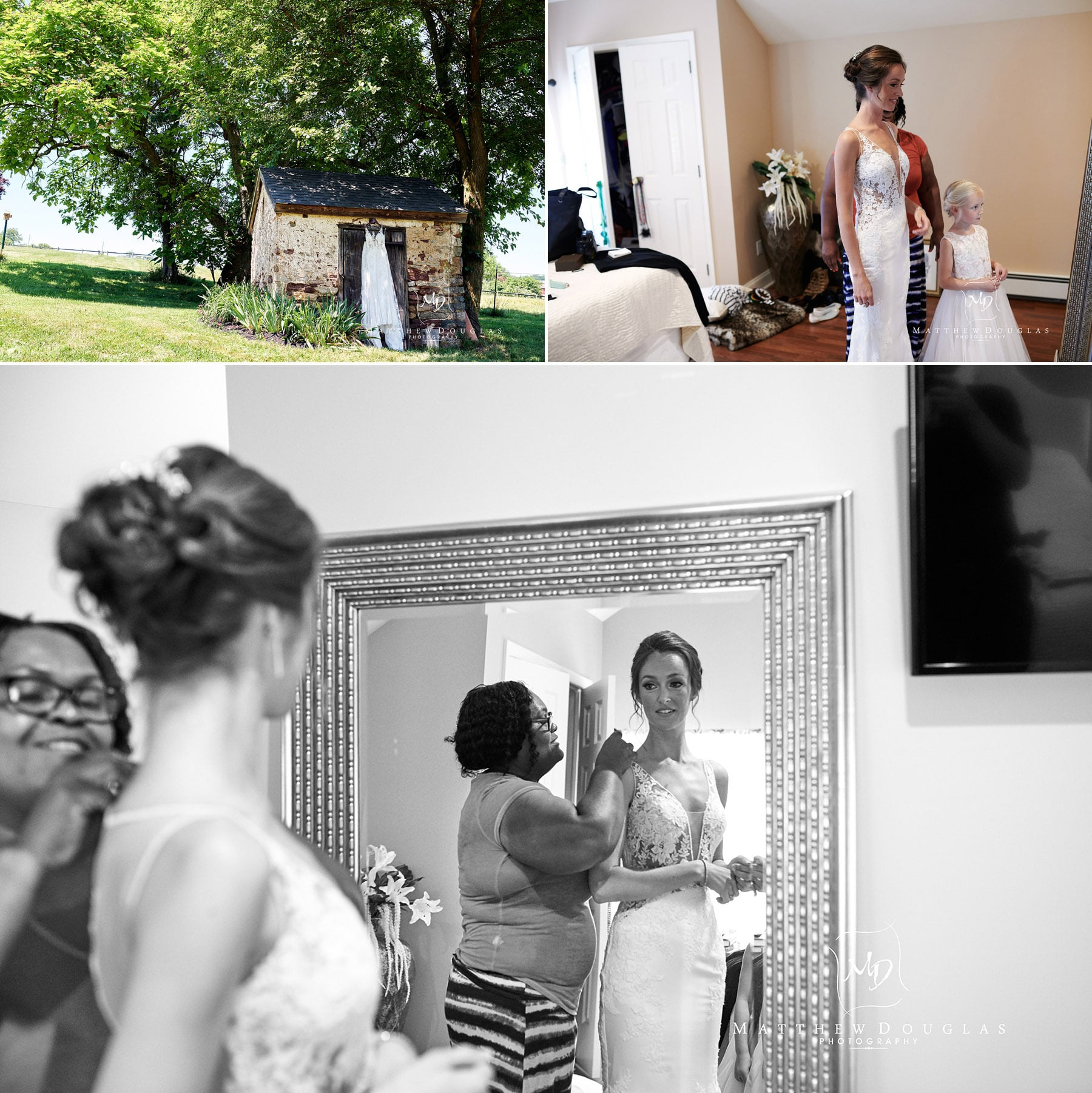 bride getting dressed at home photo