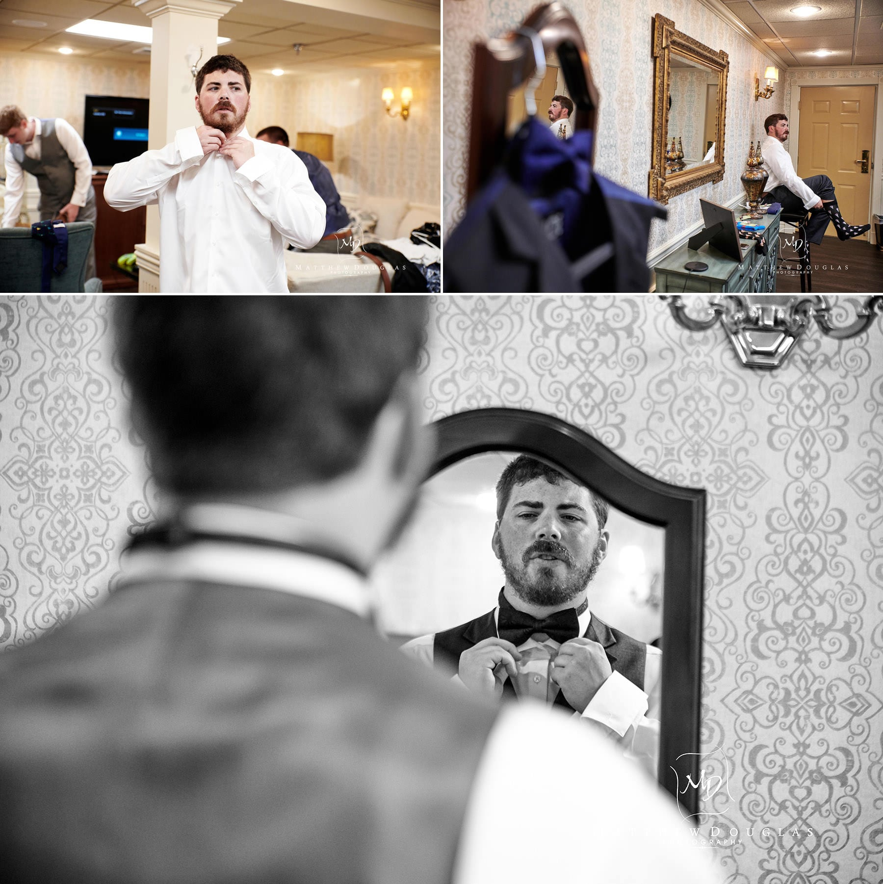 groom getting ready at olde mill inn wedding