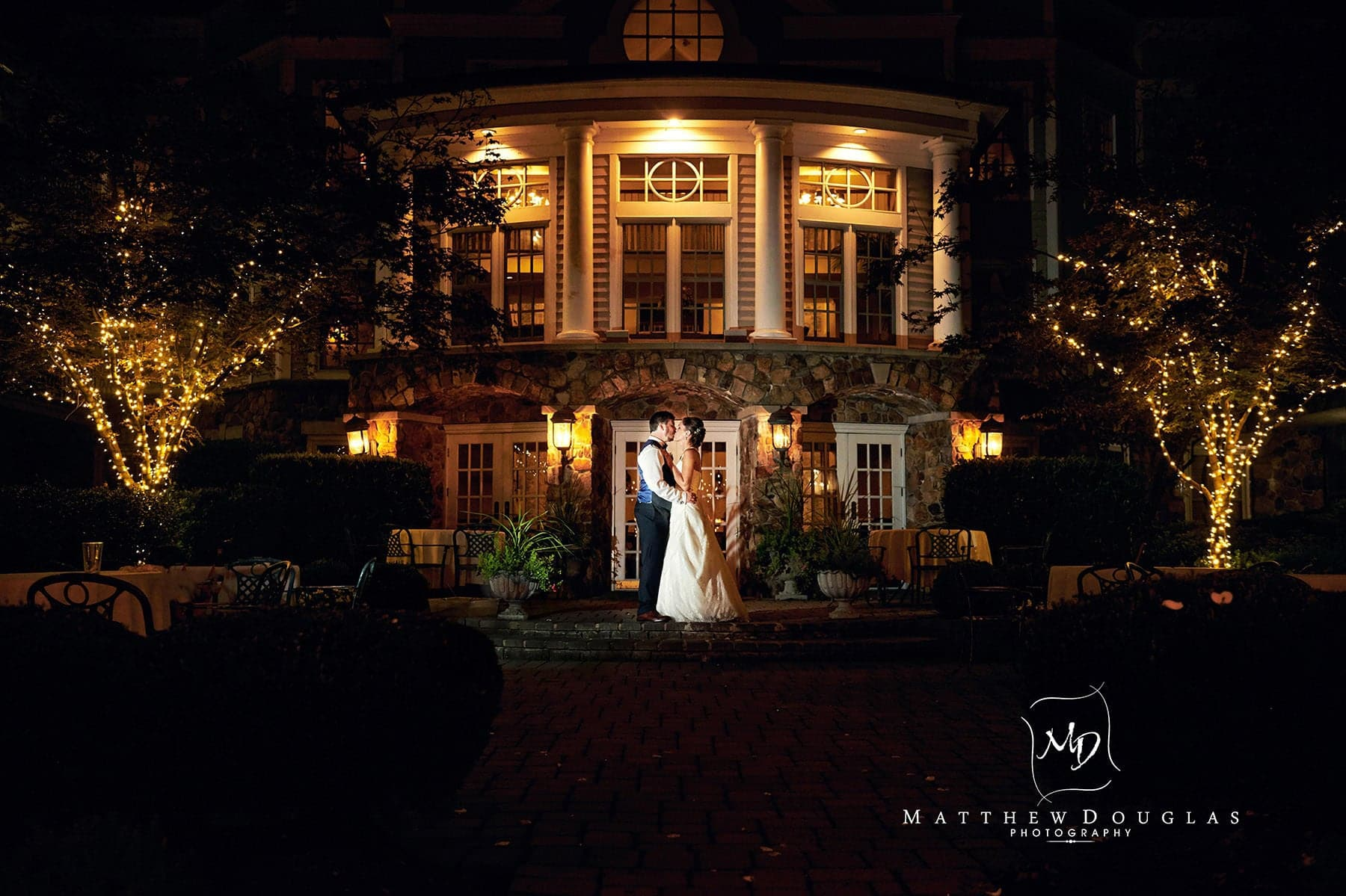olde mill inn wedding night portrait